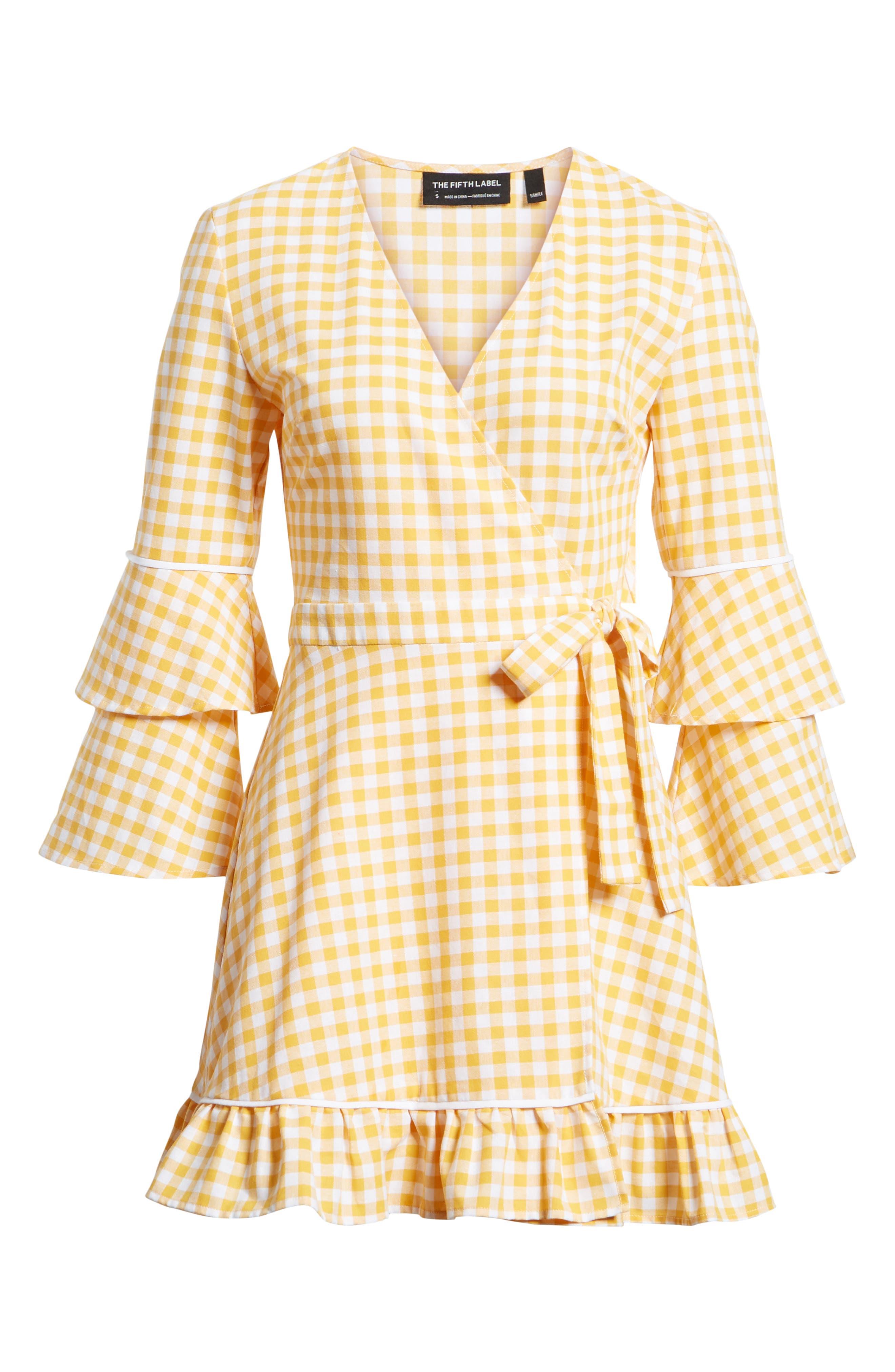 Idyllic Gingham Ruffle Dress,                             Alternate thumbnail 6, color,                             Buttercup