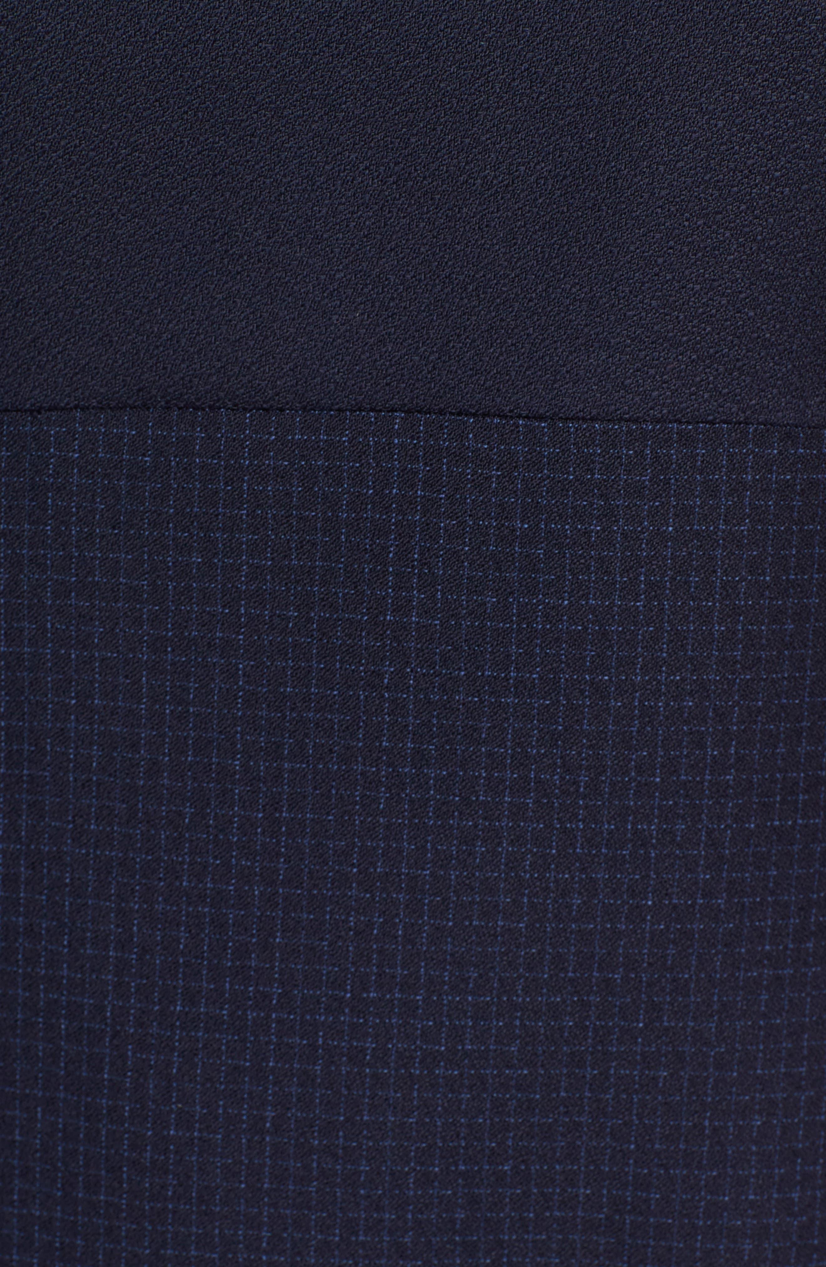 Dibena Windowpane Sheath Dress,                             Alternate thumbnail 6, color,                             Blue Fantasy