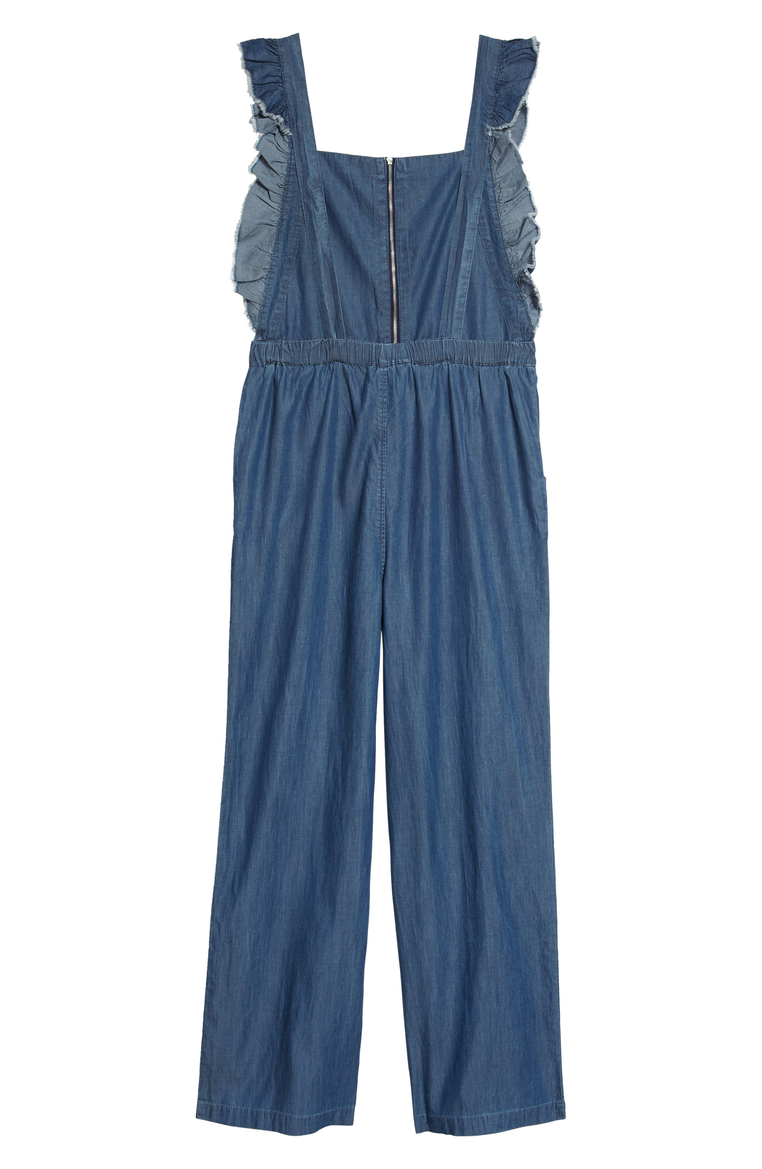 Ruffle Sleeve Denim Jumpsuit,                             Alternate thumbnail 2, color,                             Denim