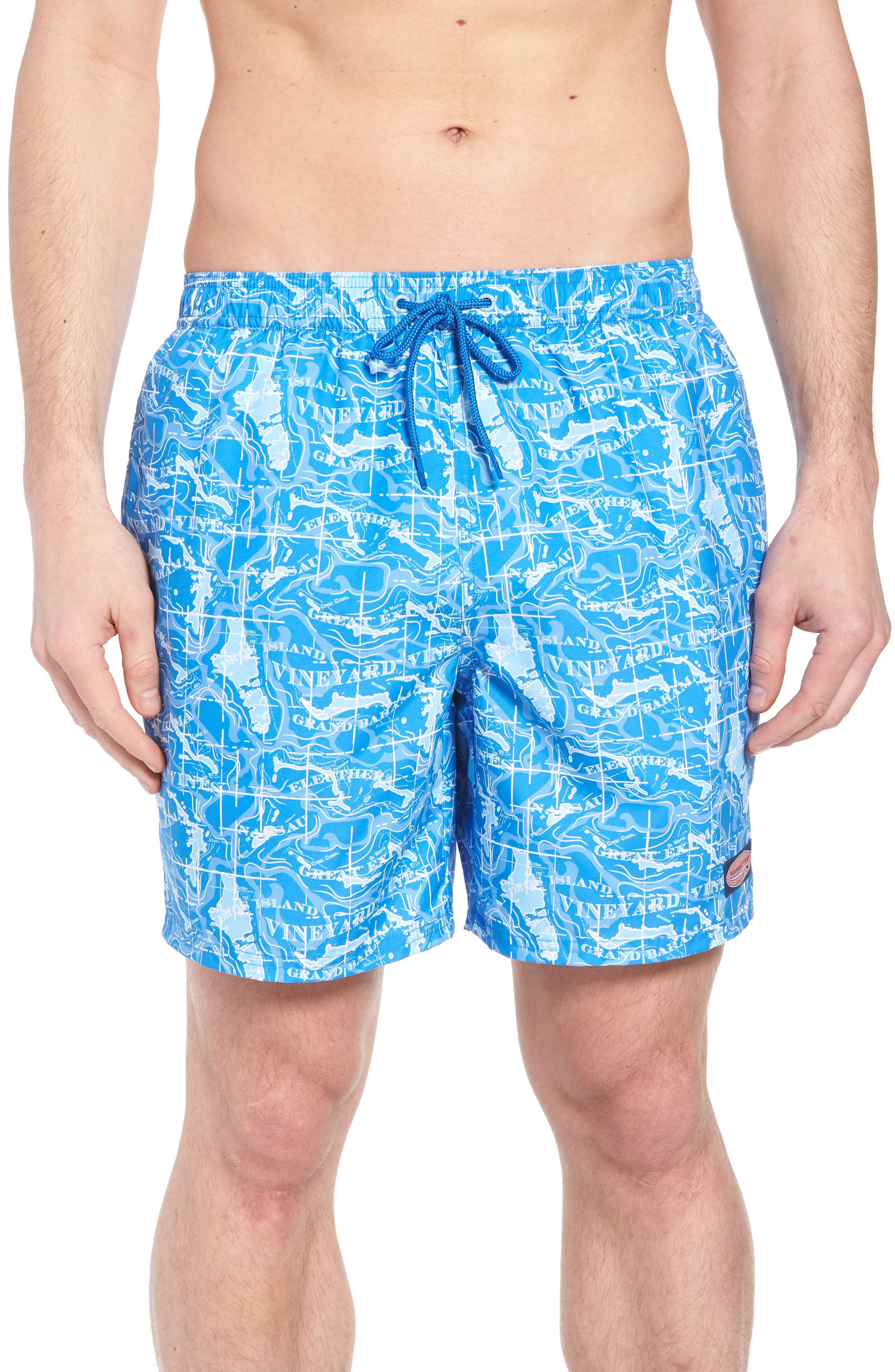 Chappy Bahama Map Swim Trunks,                             Main thumbnail 1, color,                             Hull Blue