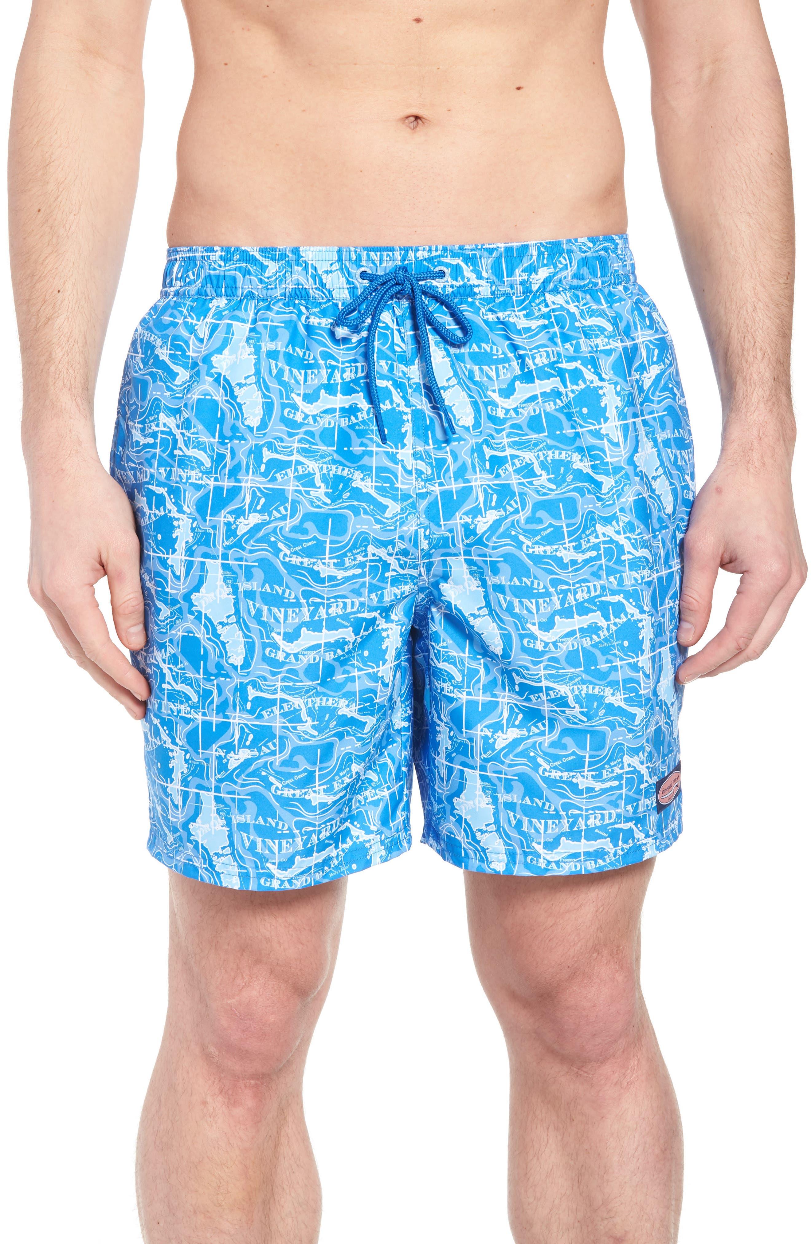 Chappy Bahama Map Swim Trunks,                         Main,                         color, Hull Blue