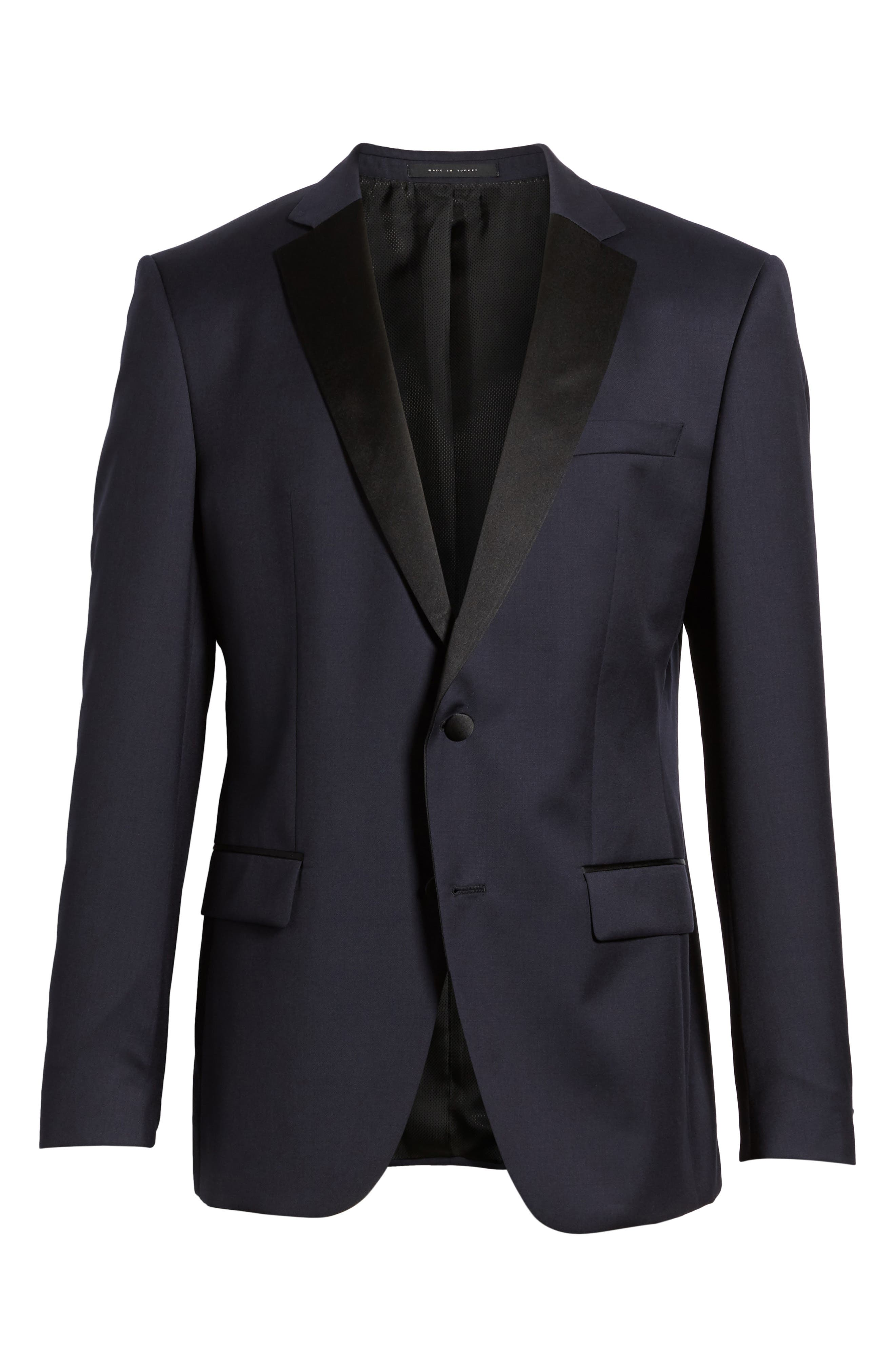 Hence CYL Trim Fit Wool Dinner Jacket,                             Alternate thumbnail 6, color,                             Dark Blue