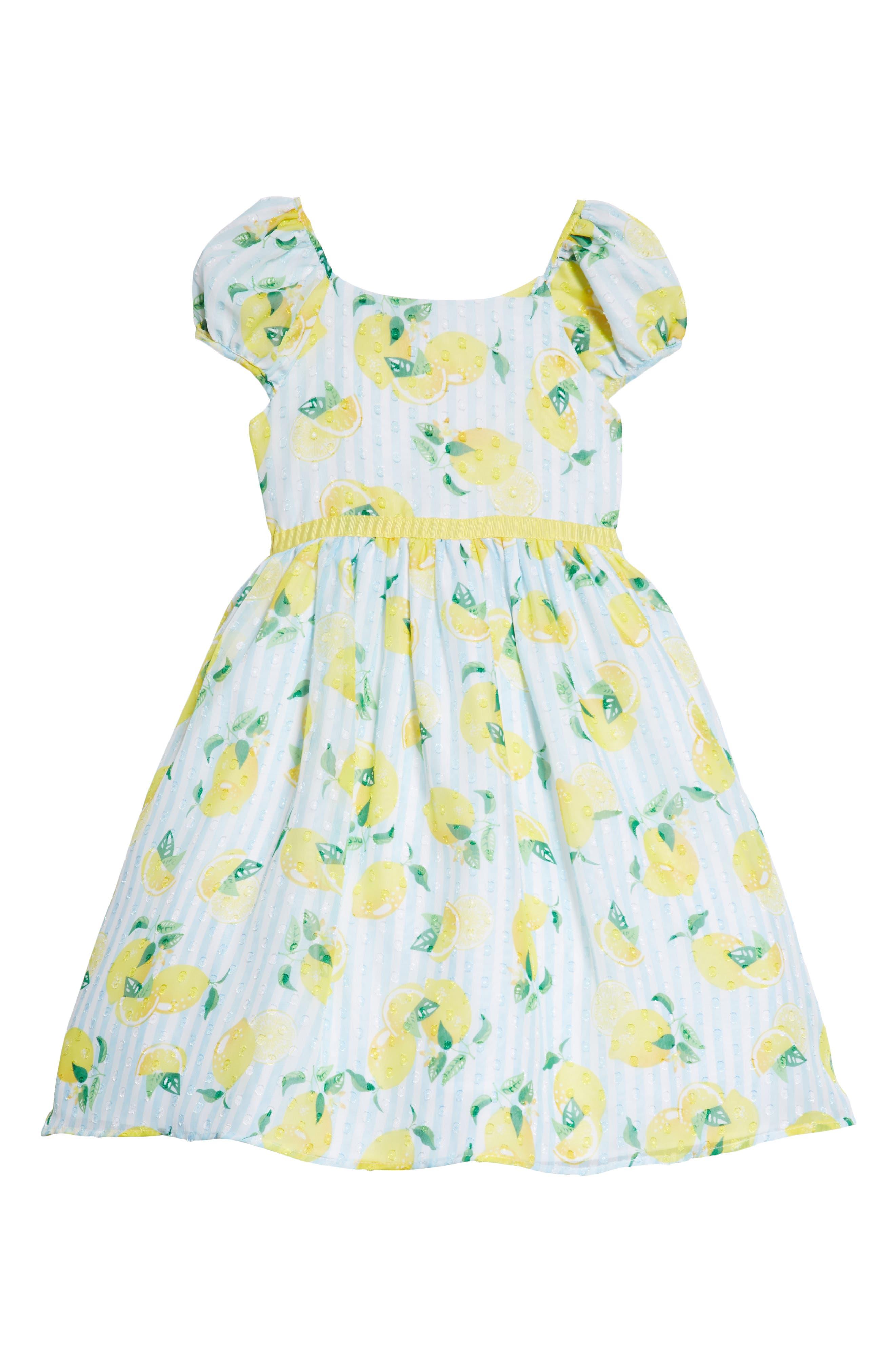 Alternate Image 1 Selected - Pastourelle by Pippa & Julie Lemon Print Dress (Toddler Girls & Little Girls)