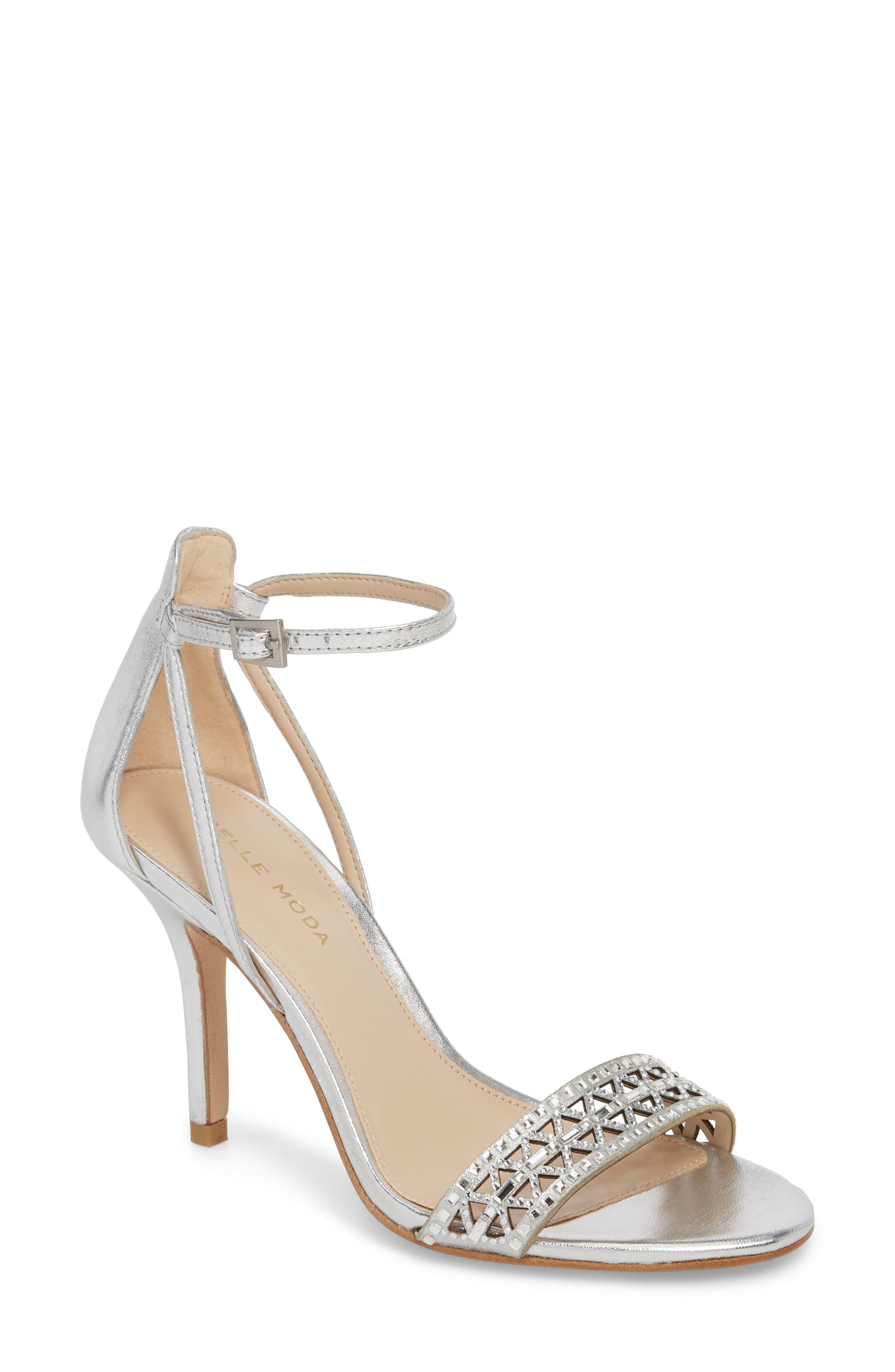 Karmina Embellished Sandal,                         Main,                         color, Silver Leather