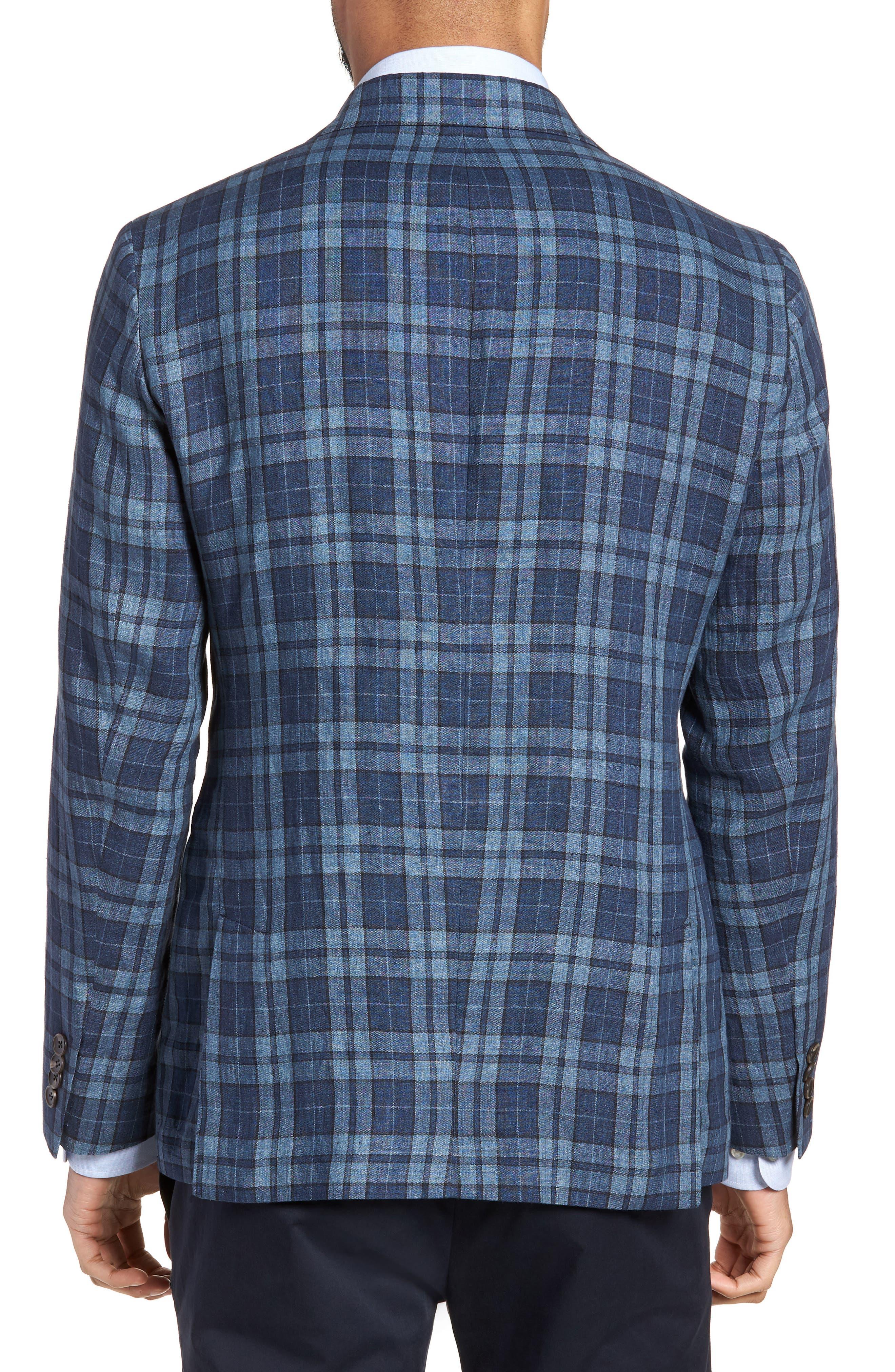 Vanquish Trim Fit Plaid Linen Sport Coat,                             Alternate thumbnail 2, color,                             Blue