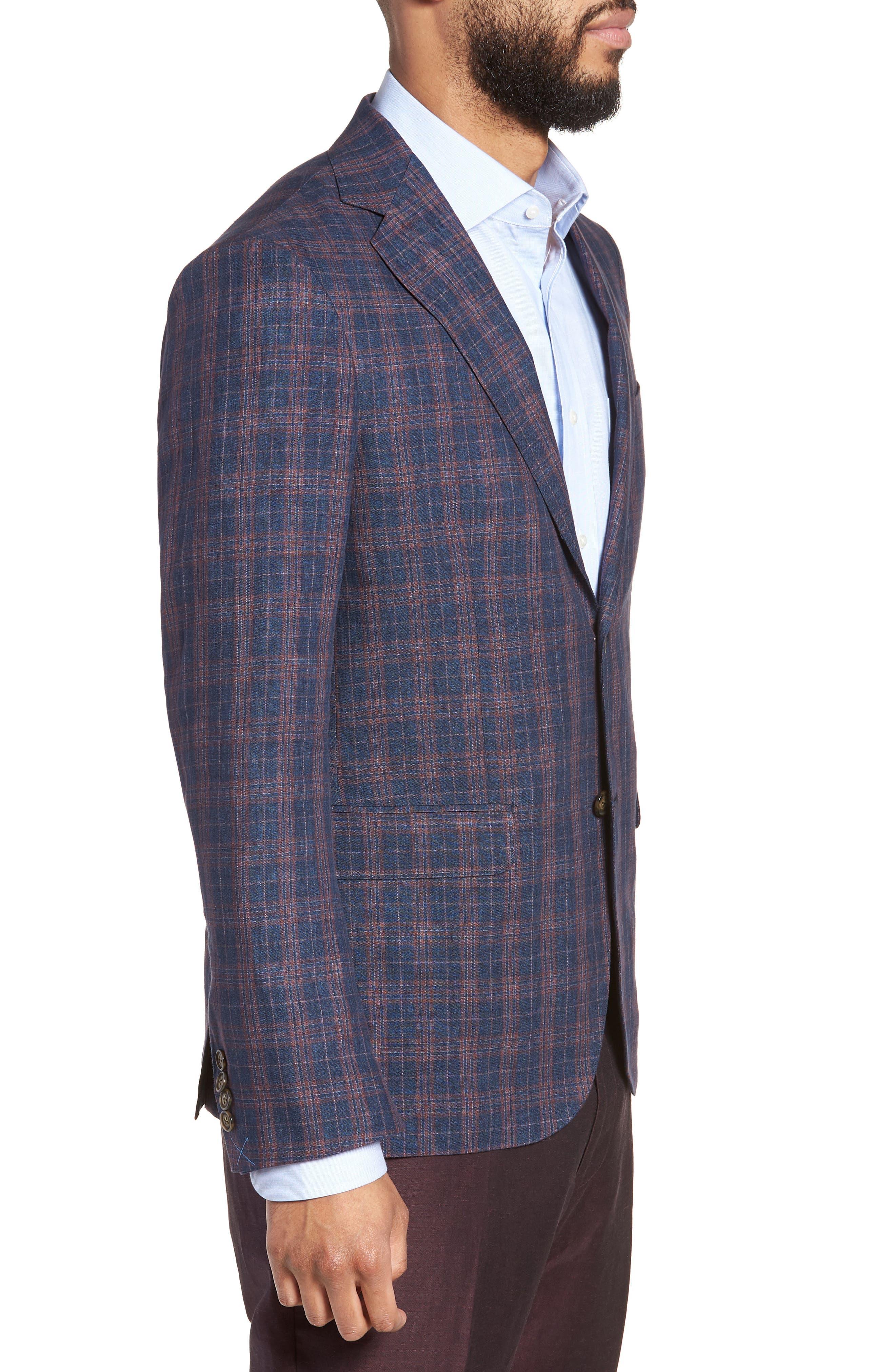 Vanquish Trim Fit Plaid Linen Sport Coat,                             Alternate thumbnail 3, color,                             Navy/ Red