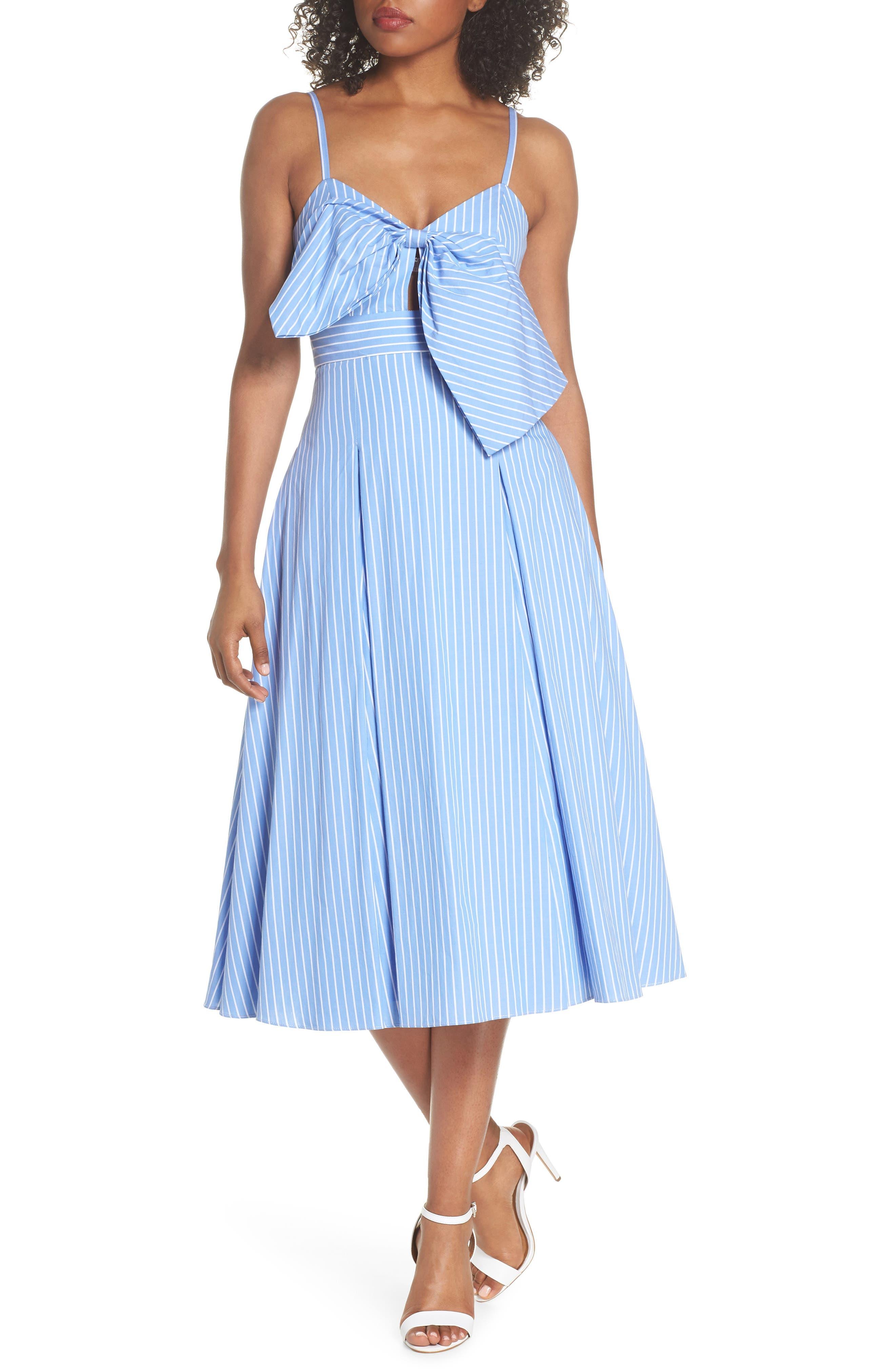 Becky Bow Front Tea Length Dress,                             Main thumbnail 1, color,                             Pale Blue/ White Stripe