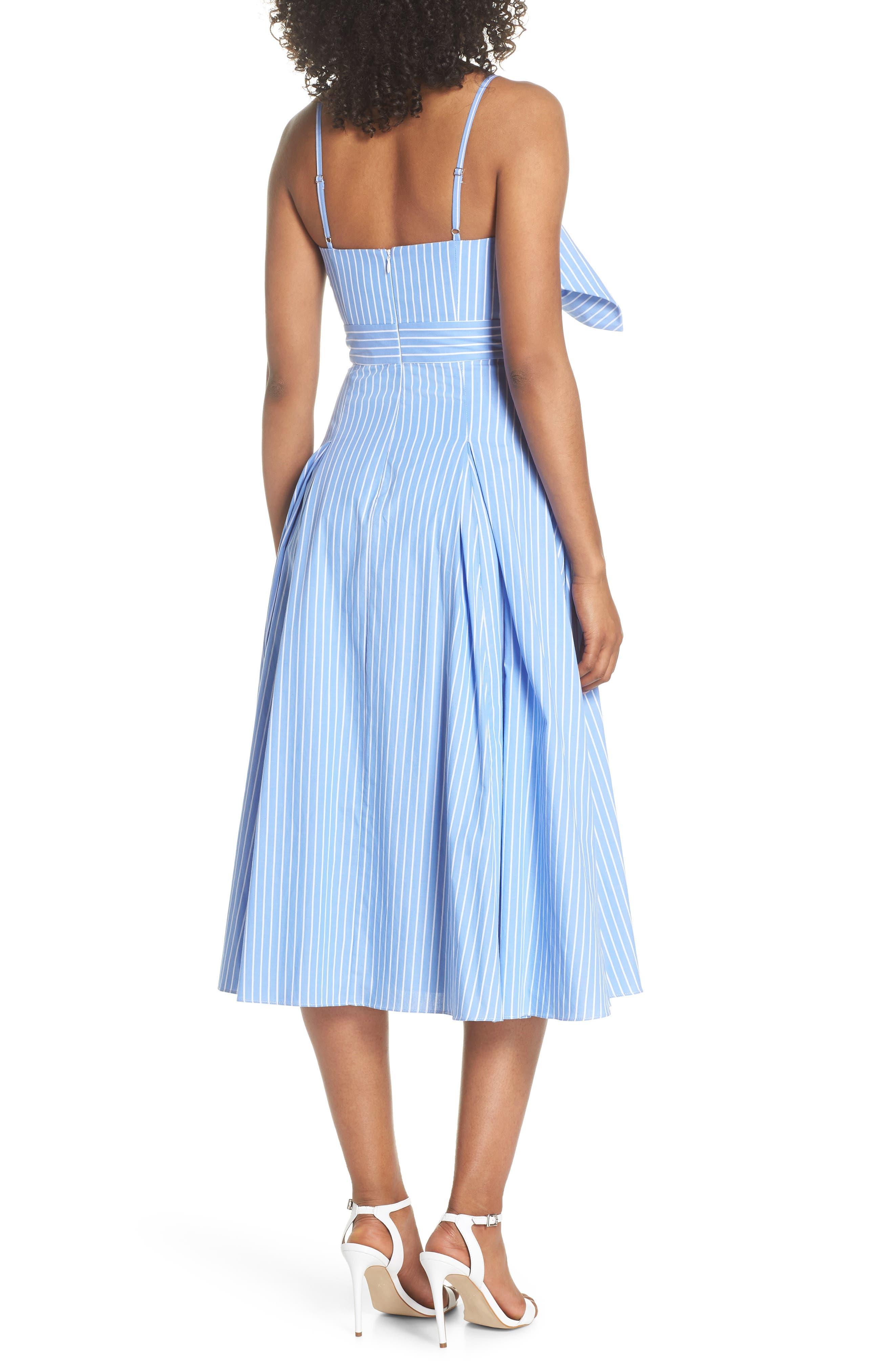 Becky Bow Front Tea Length Dress,                             Alternate thumbnail 2, color,                             Pale Blue/ White Stripe