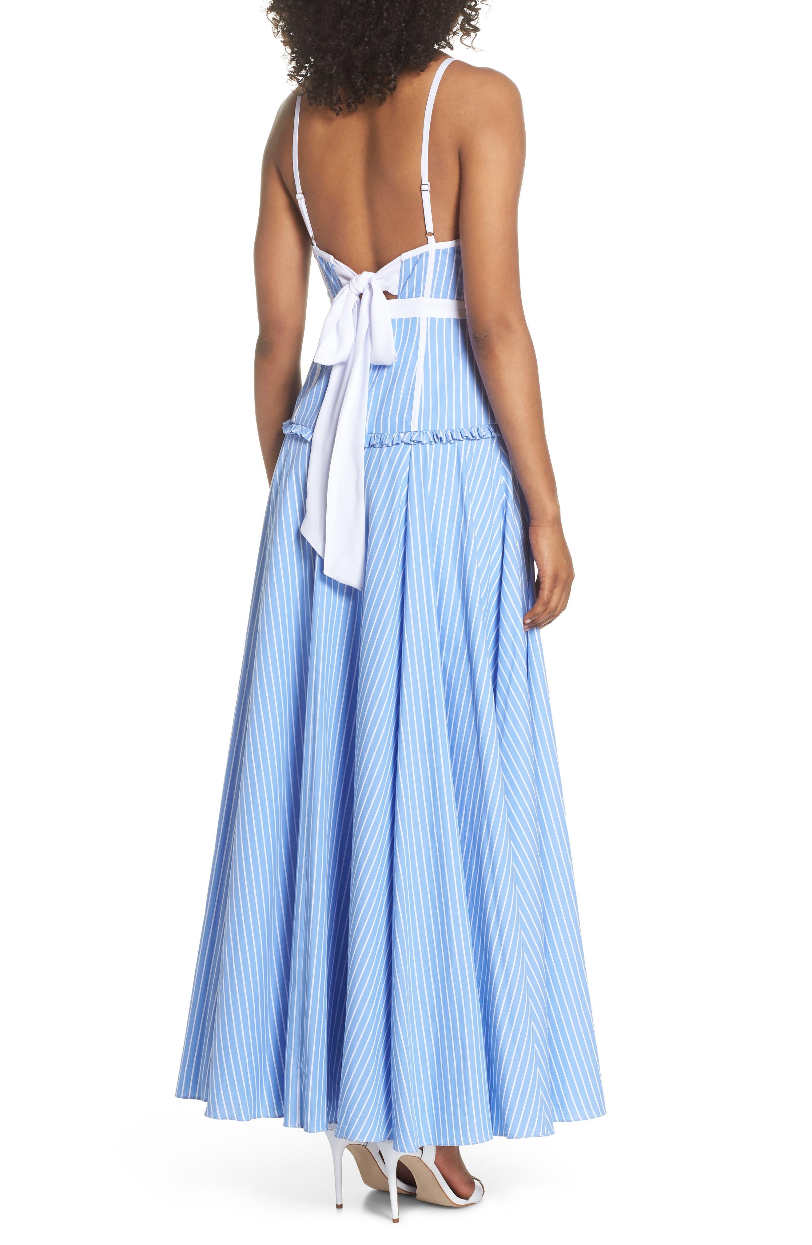 Morrow Stripe Corset Gown,                             Alternate thumbnail 2, color,                             Pale Blue/ White Stripe