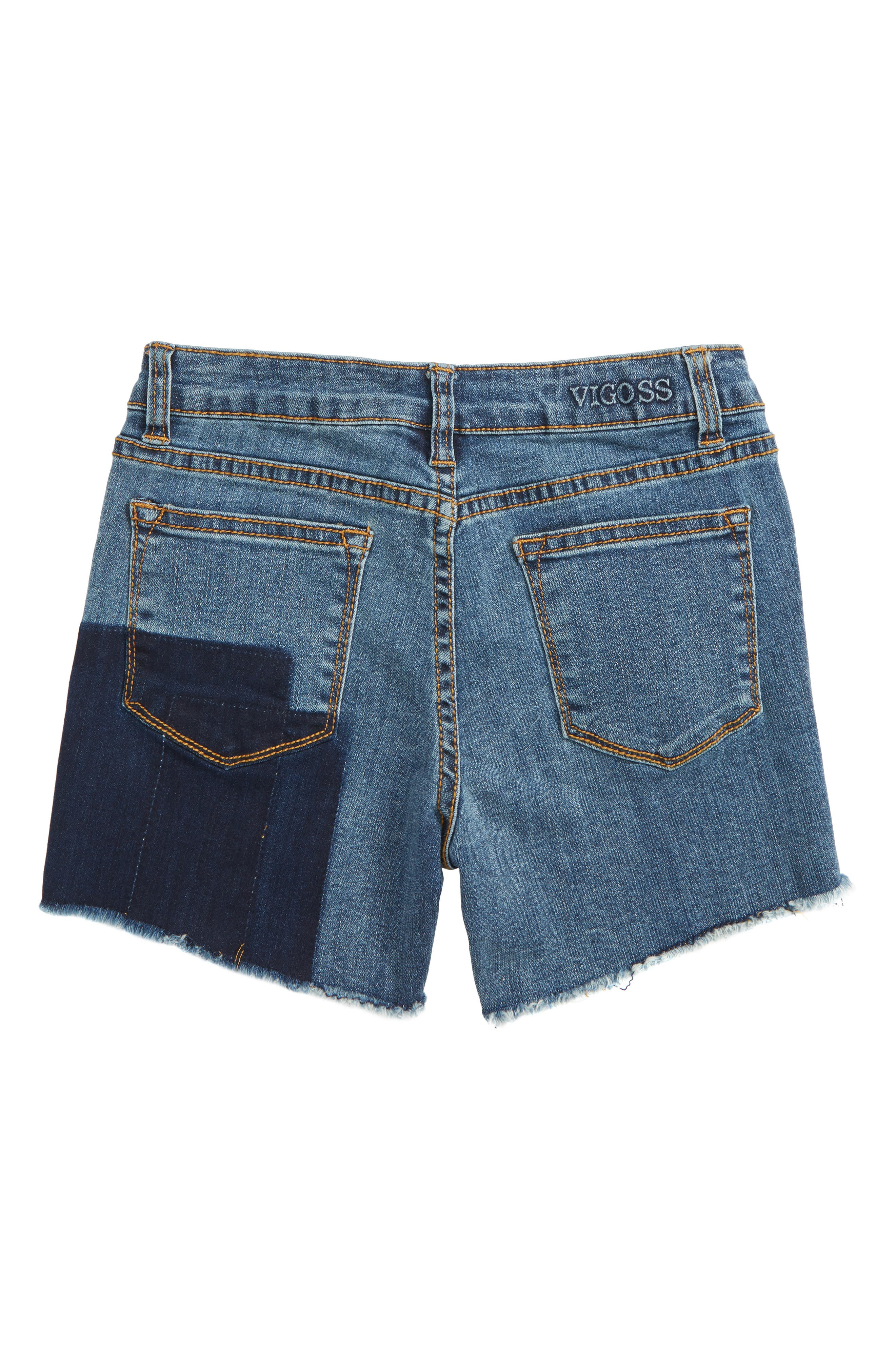 Shadow Frayed Cutoff Denim Shorts,                             Alternate thumbnail 2, color,                             Twilight