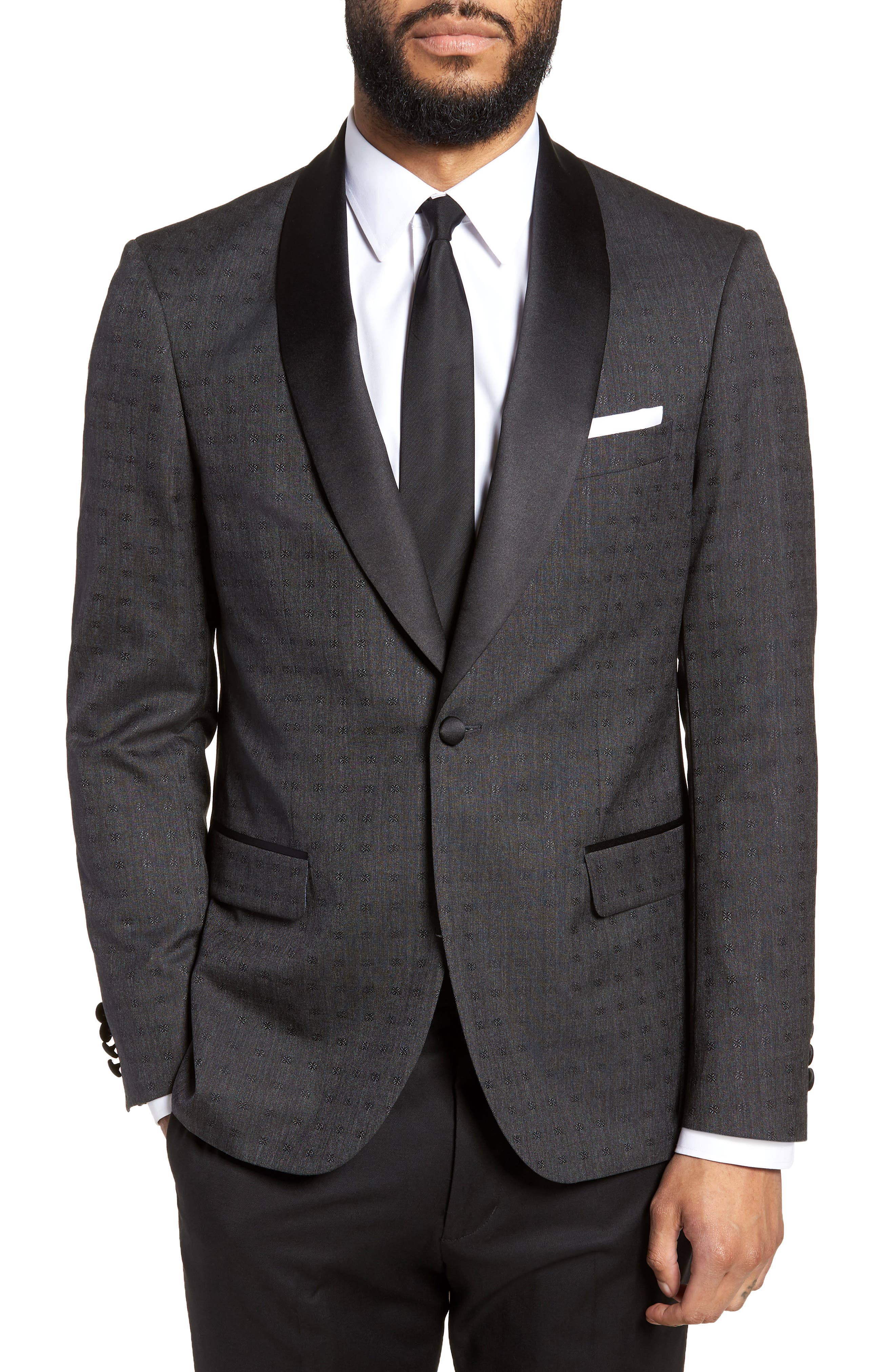 Morgan Trim Fit Wool Dinner Jacket,                         Main,                         color, Charcoal Dobby