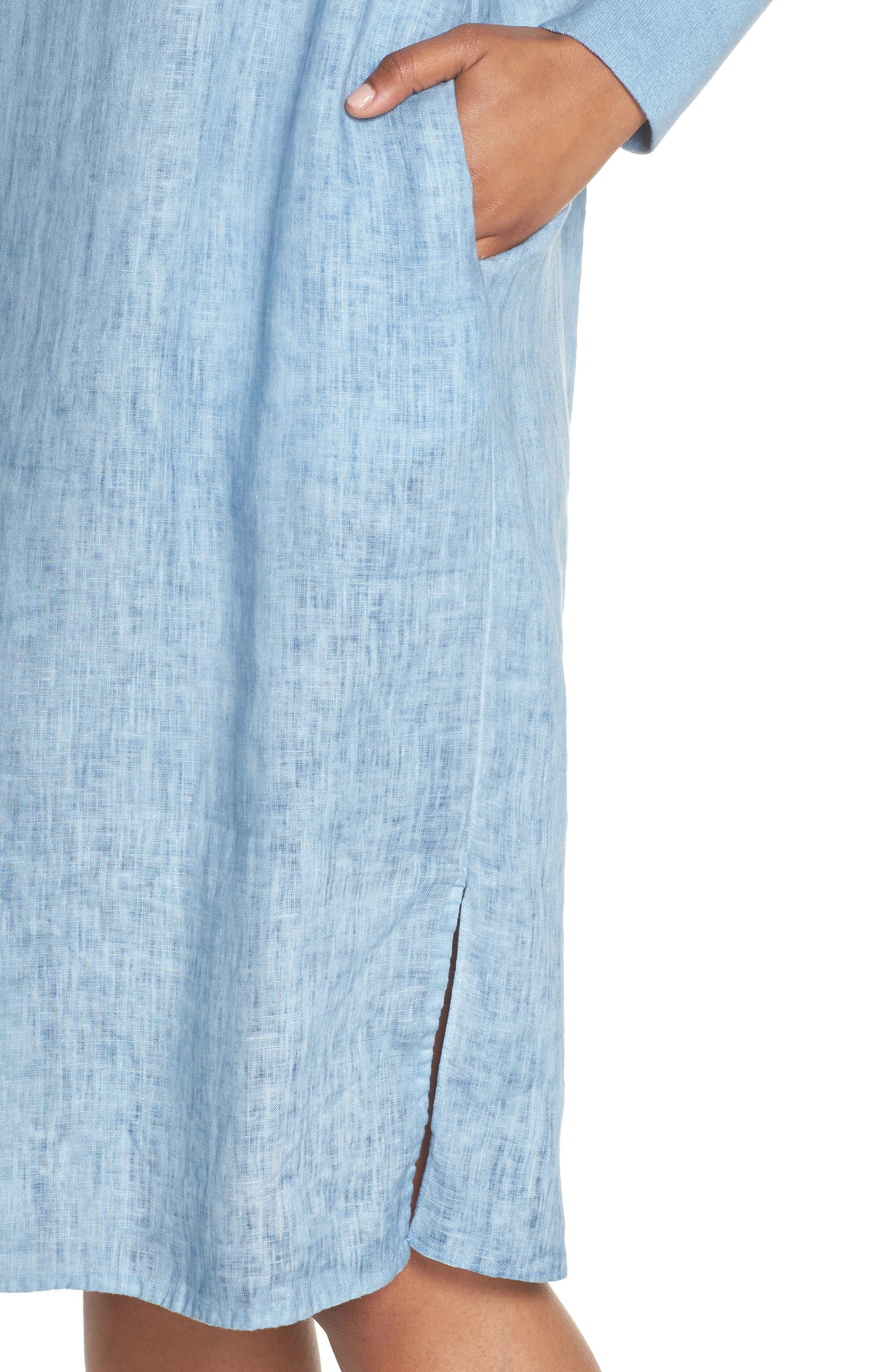 Rata Linen Shift Dress,                             Alternate thumbnail 4, color,                             Blue