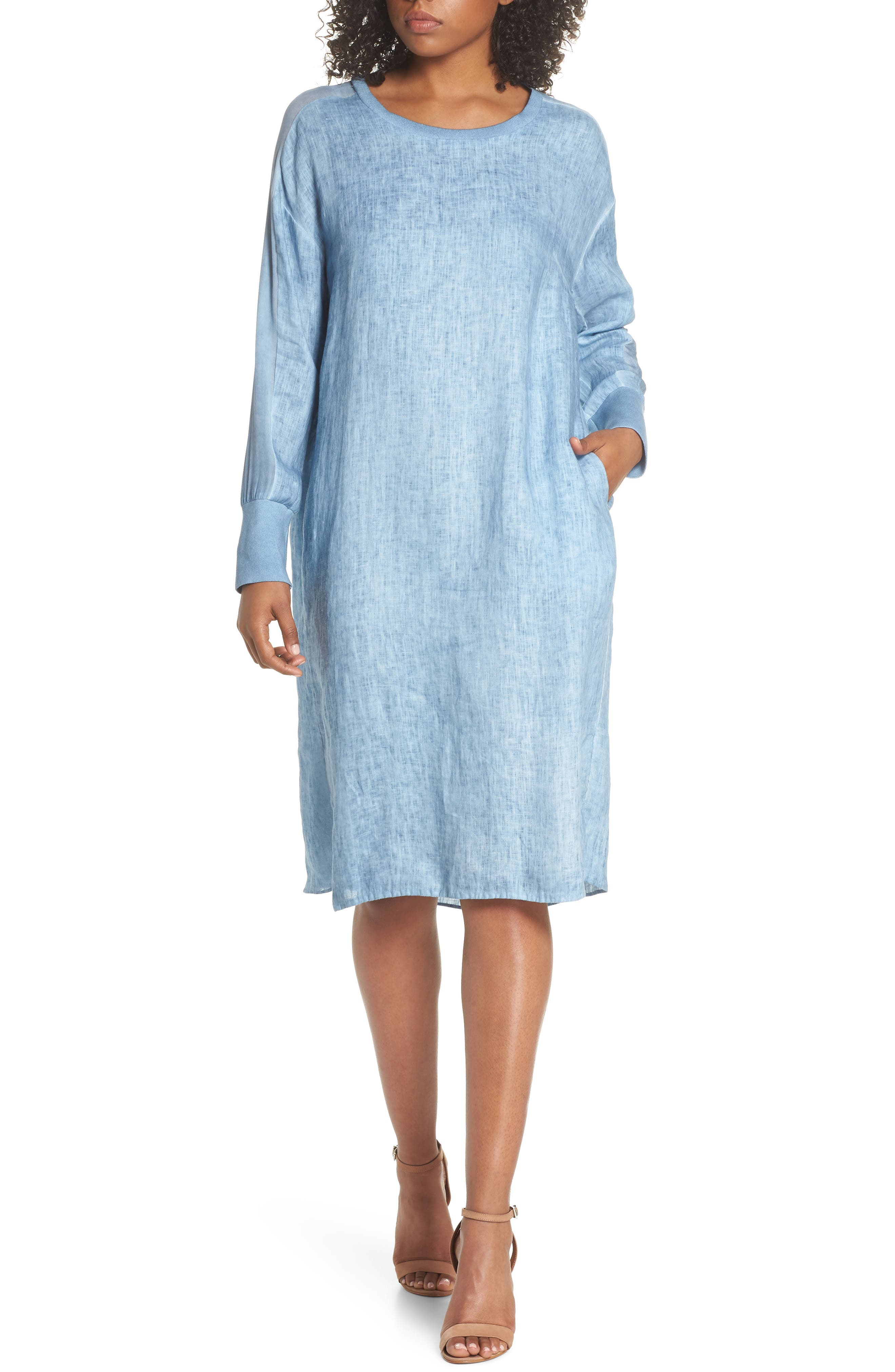 Rata Linen Shift Dress,                             Main thumbnail 1, color,                             Blue