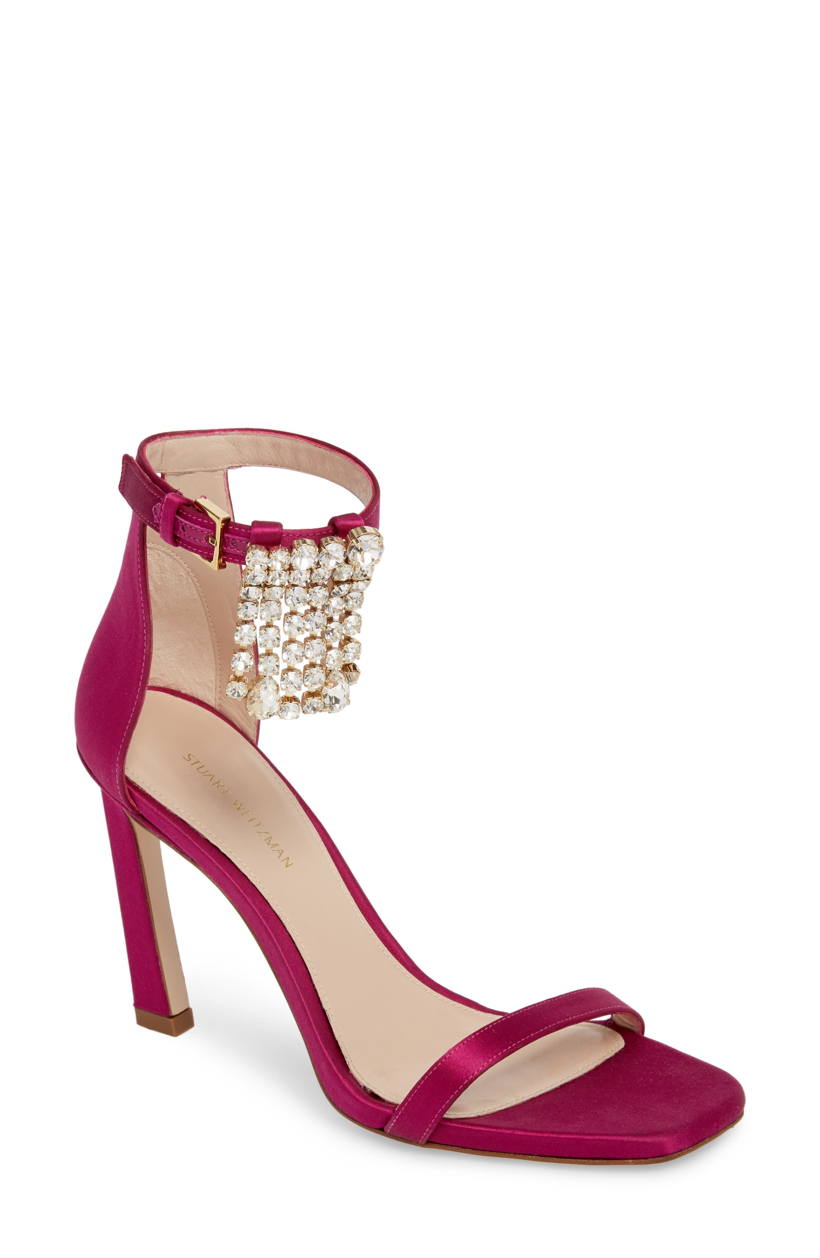 100FRINGESQUARENUDIST Sandal,                         Main,                         color, Grape Silk Satin