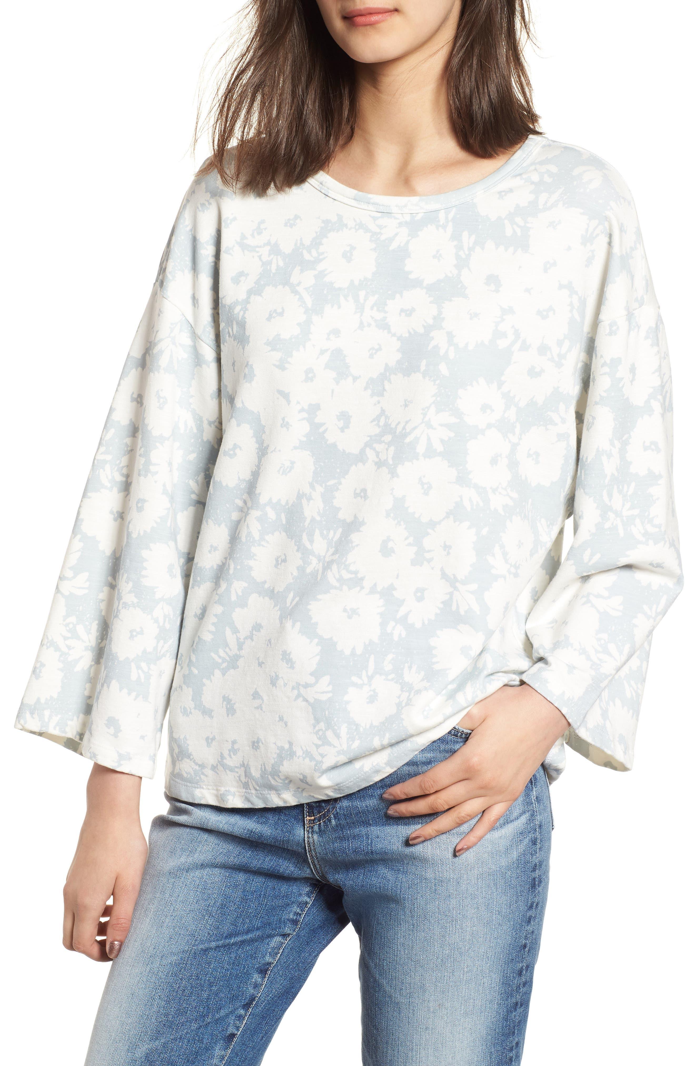 Kimono Sweatshirt,                         Main,                         color, Sky/ White