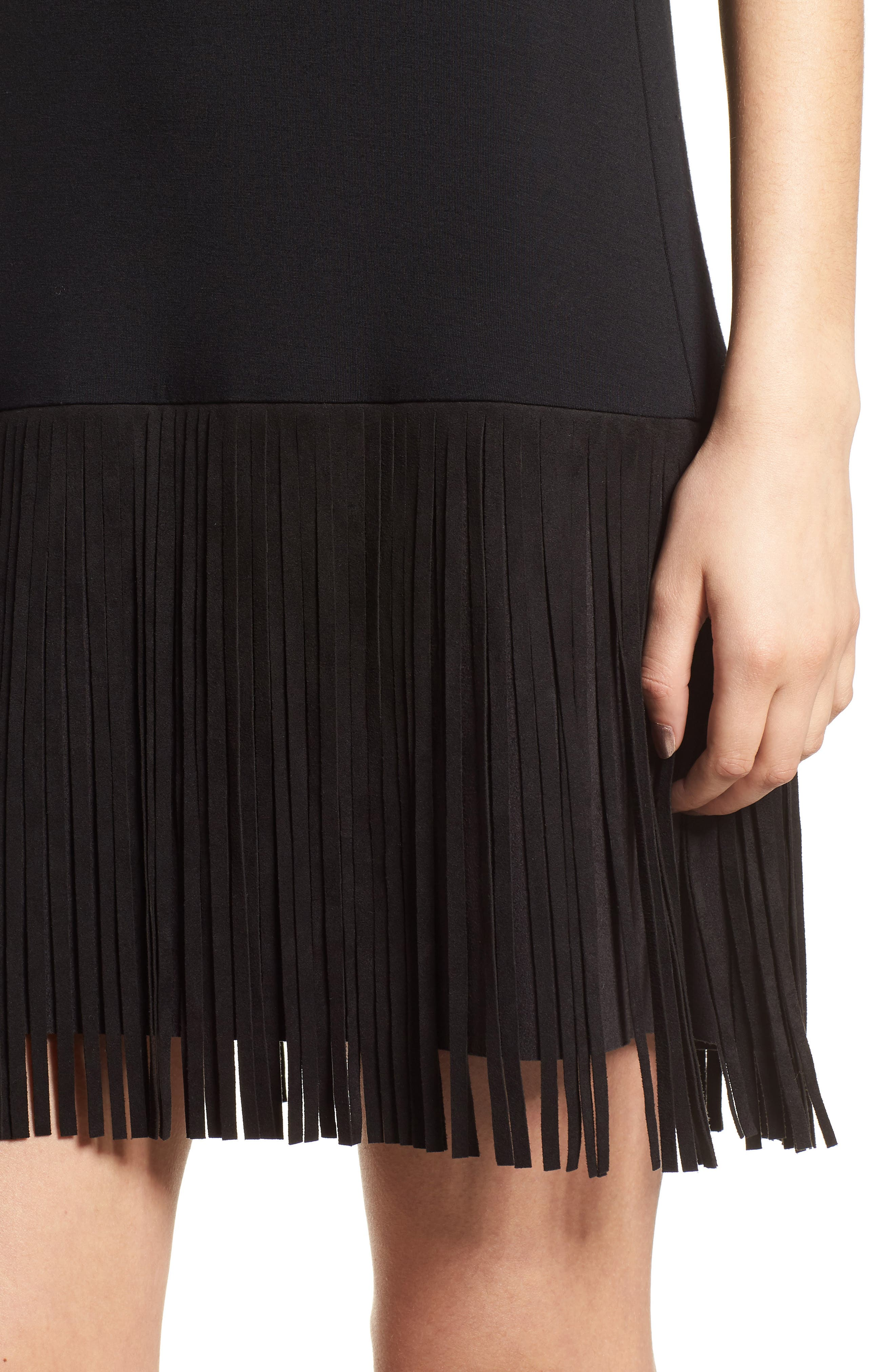 Dead or Alive Fringe Tank Dress,                             Alternate thumbnail 4, color,                             Black