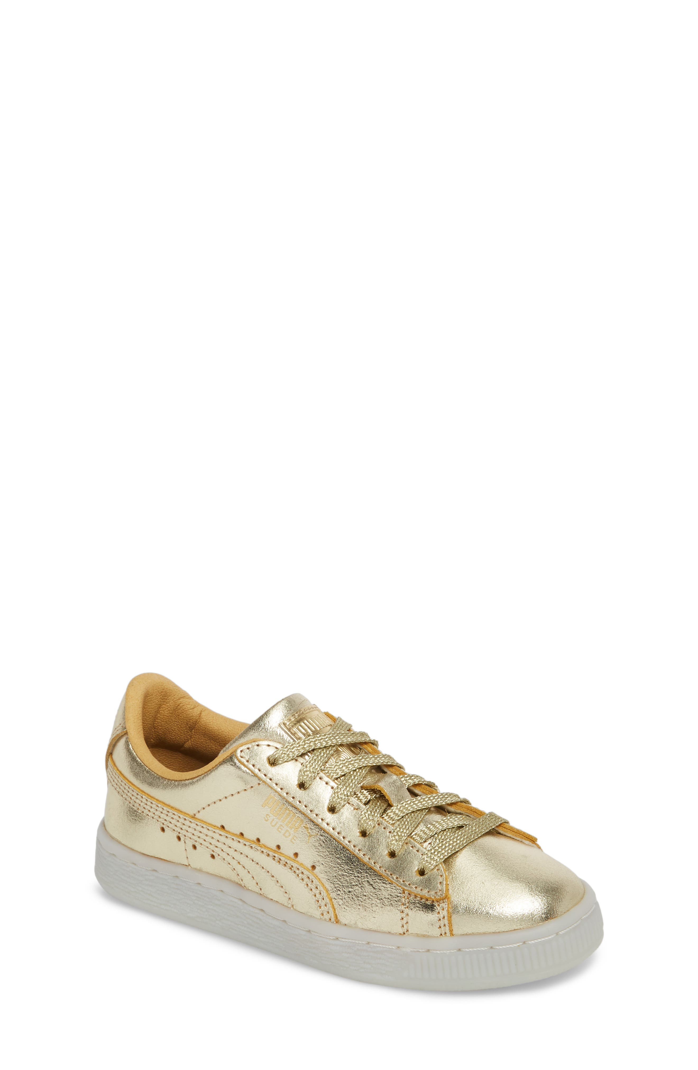 Suede 50th Anniversary Metallic Sneaker,                             Main thumbnail 1, color,                             Gold