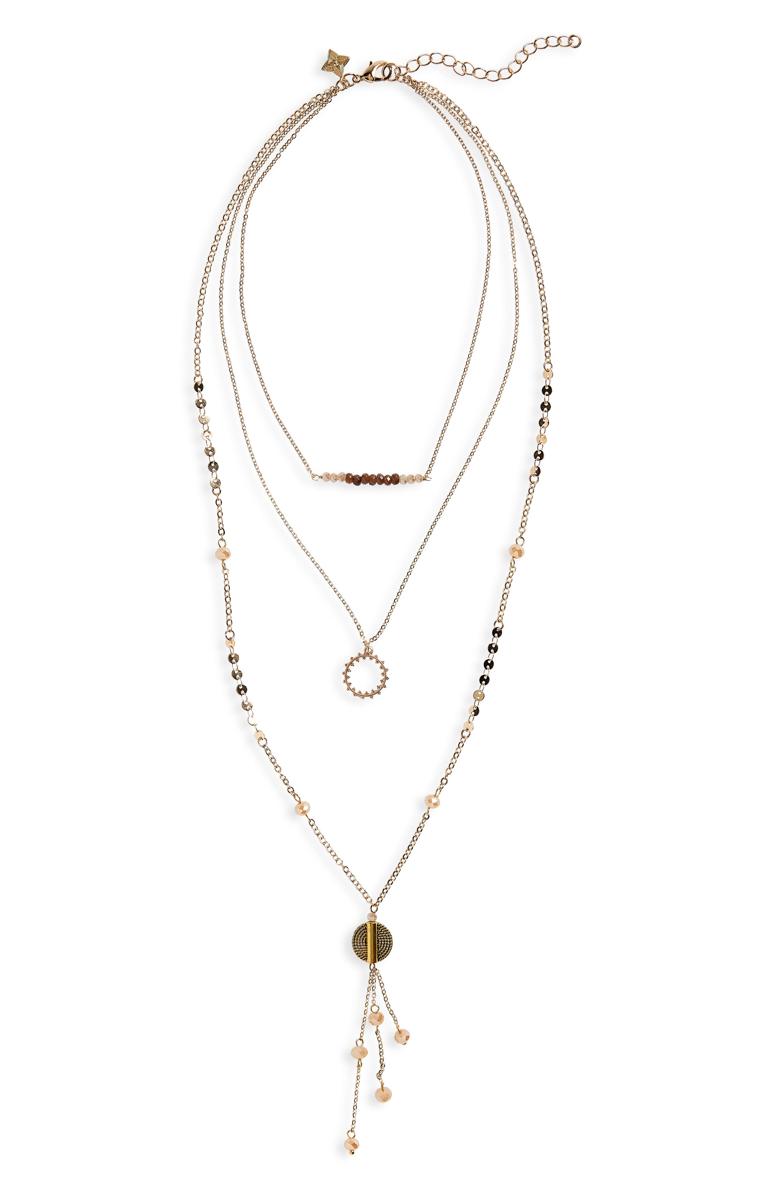 Layered Stone Necklace,                         Main,                         color, Multi