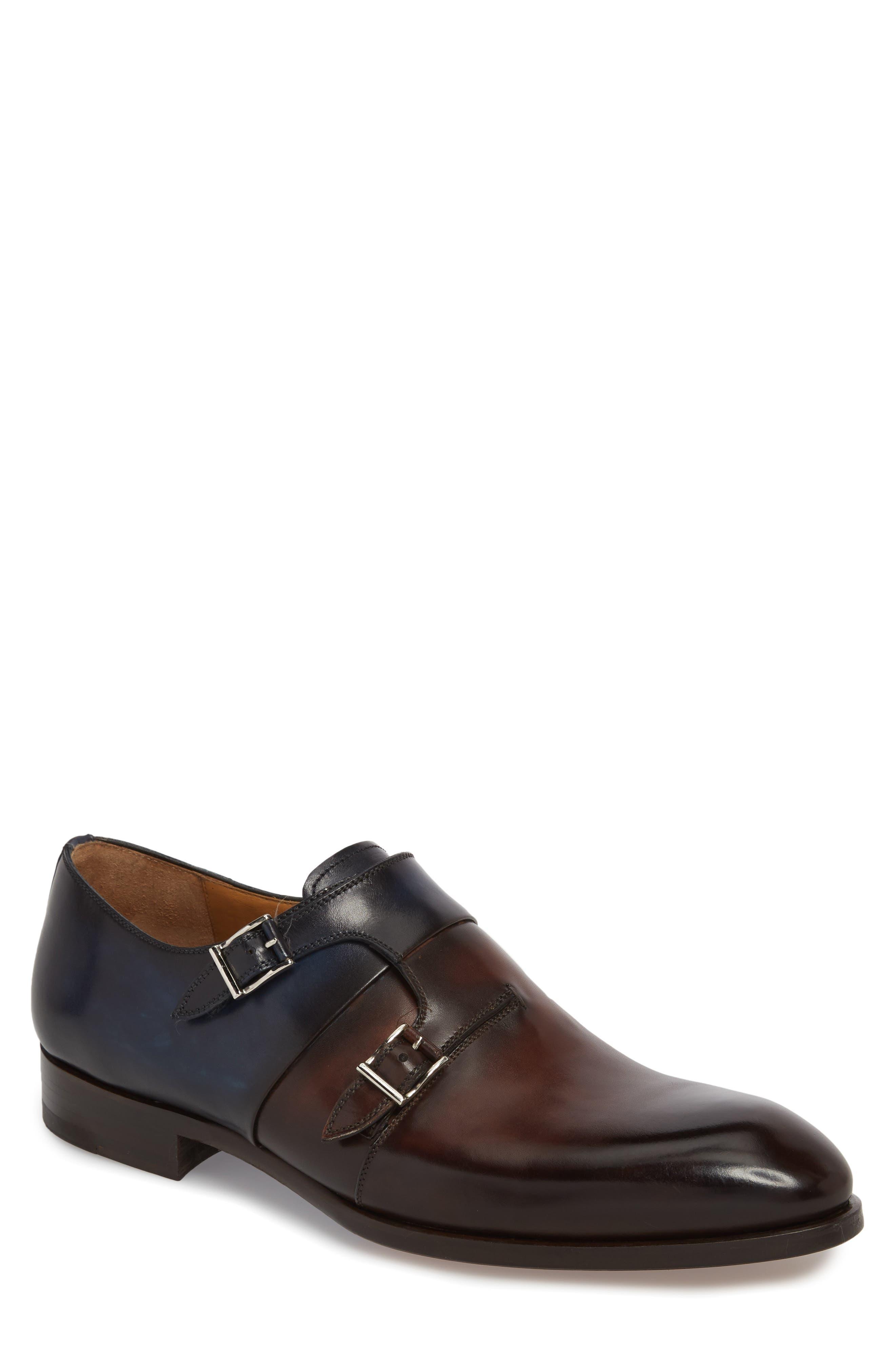 Magnanni Rooney Two-Tone Double Buckle Monk Shoe (Men)