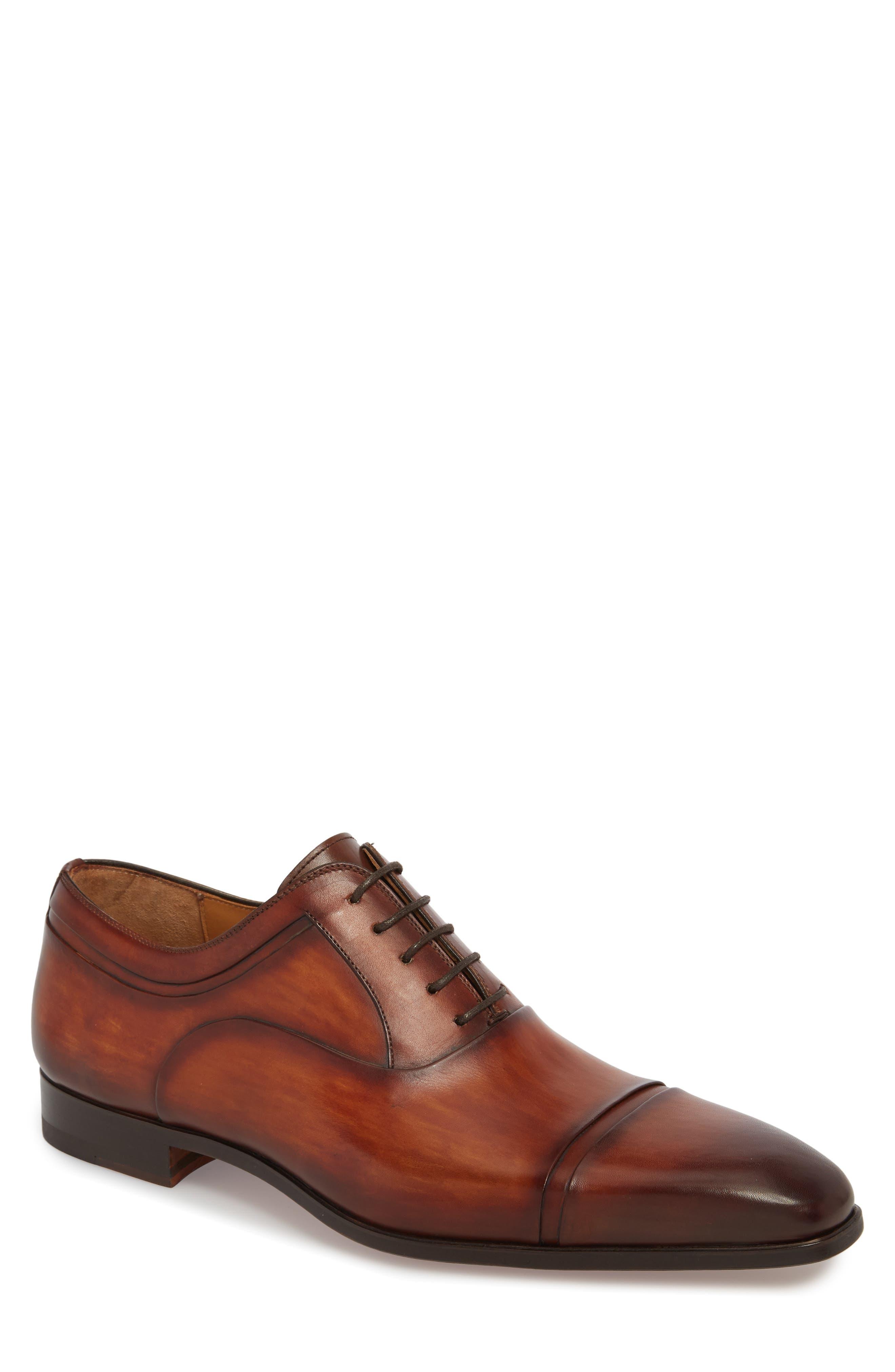 Tobin Cap Toe Oxford,                         Main,                         color, Cognac Leather