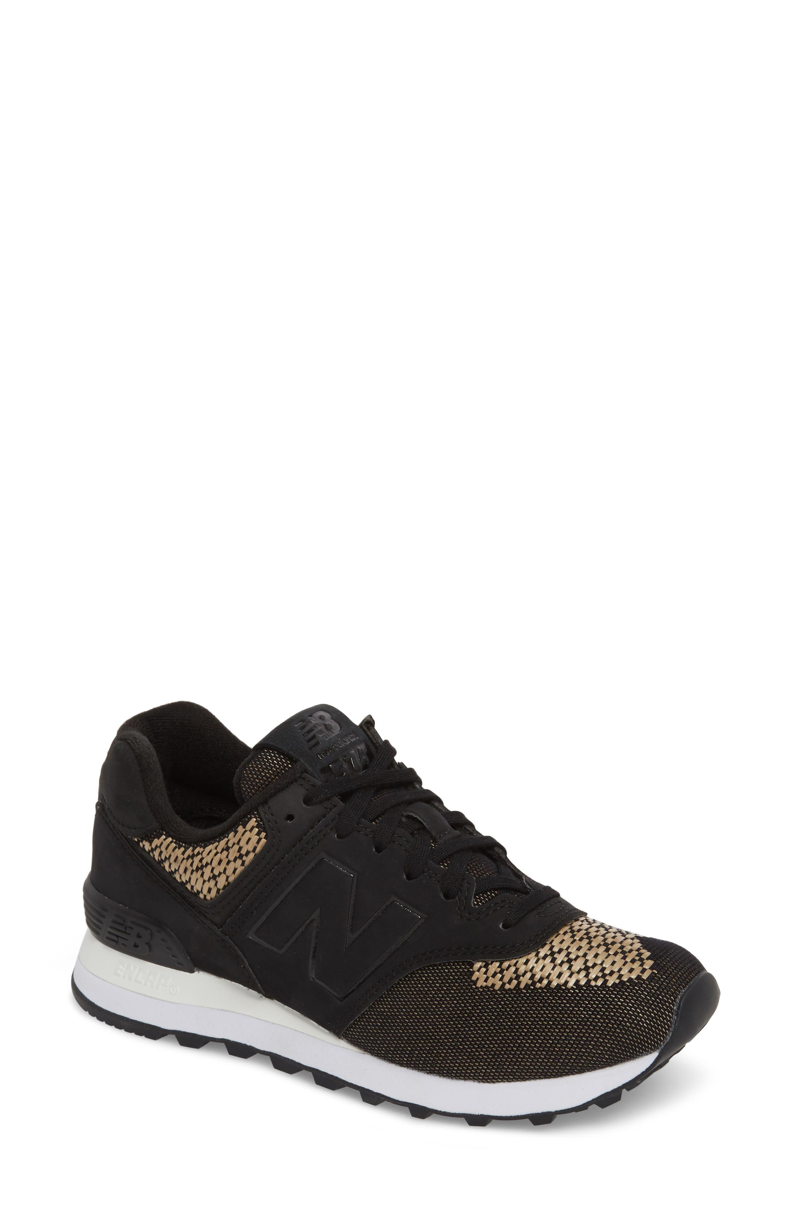 574 Tech Raffia Sneaker,                             Main thumbnail 1, color,                             Black