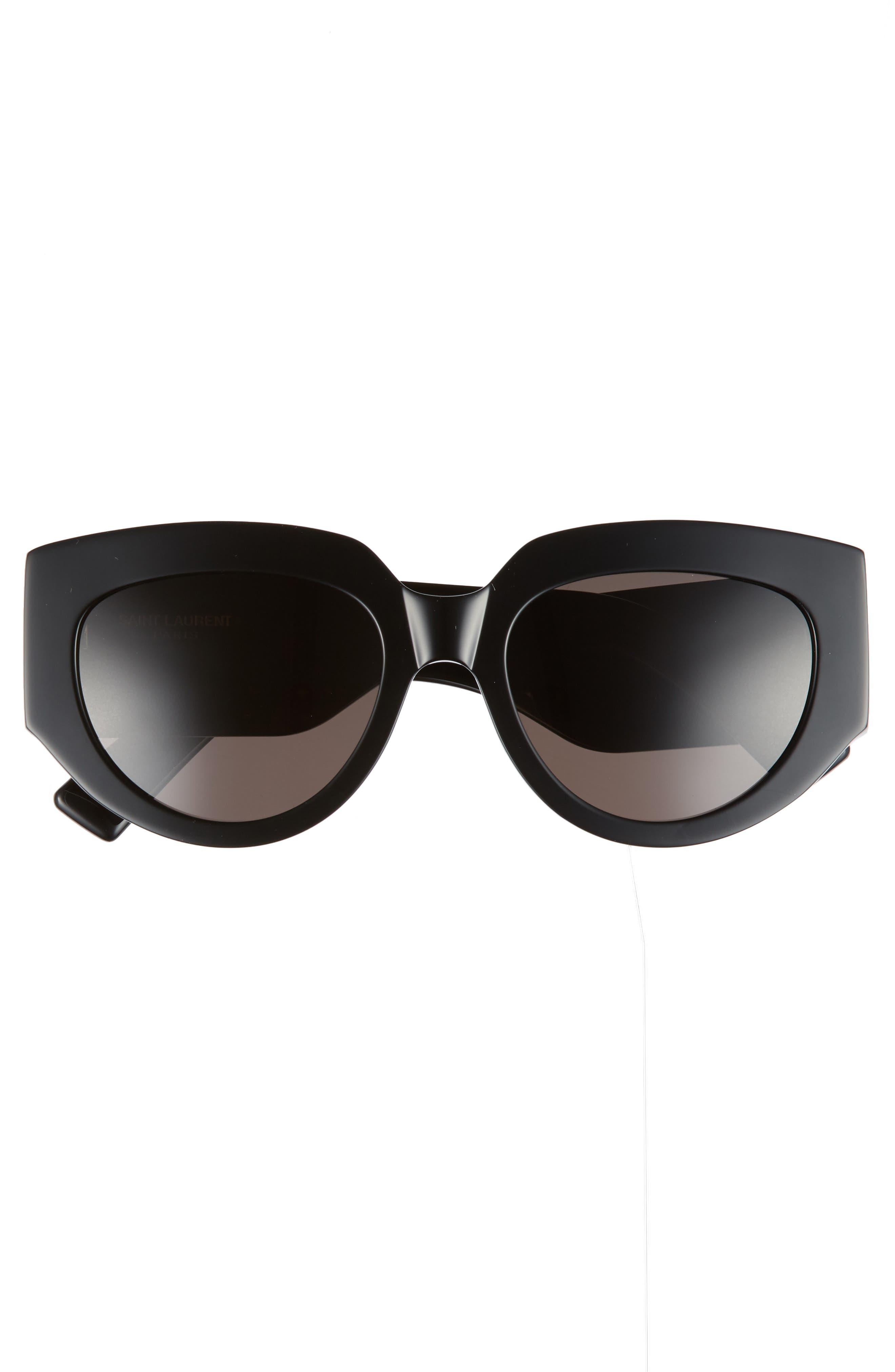 Rope 54mm Cat Eye Sunglasses,                             Alternate thumbnail 3, color,                             Black/ Black