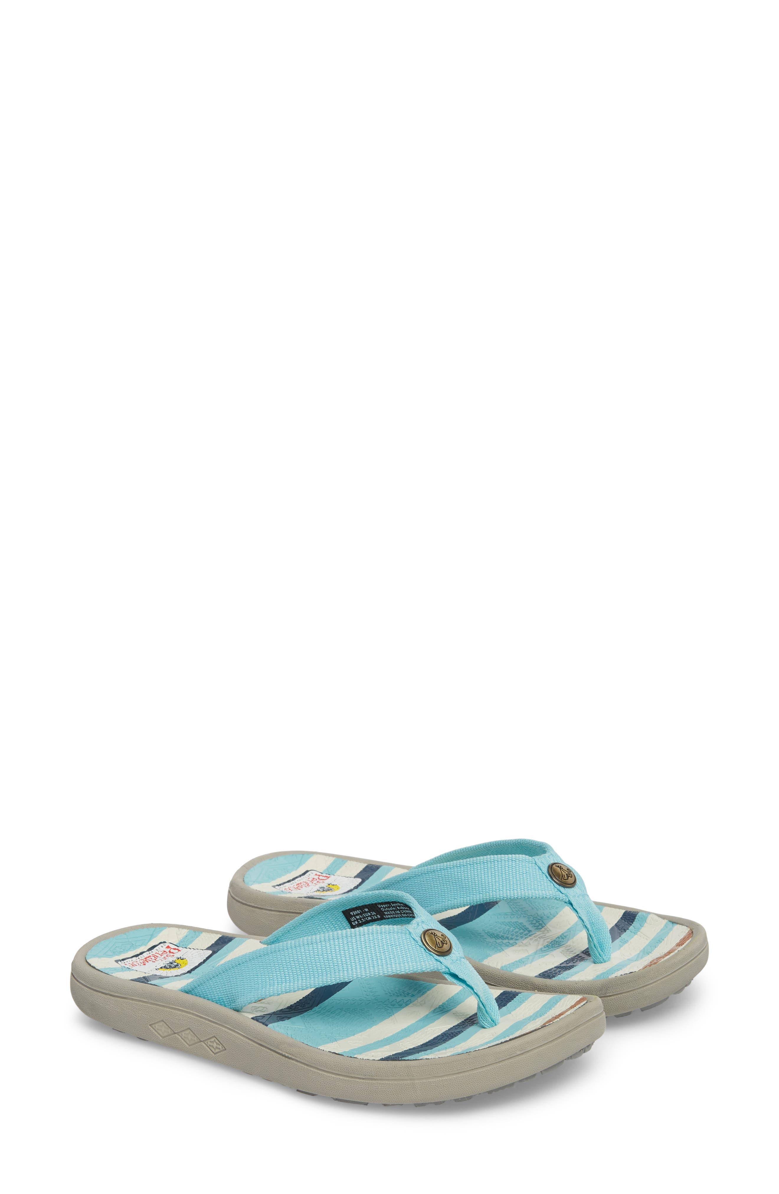 Pendleton Surf Stripe Flip Flop,                             Alternate thumbnail 5, color,                             Aqua