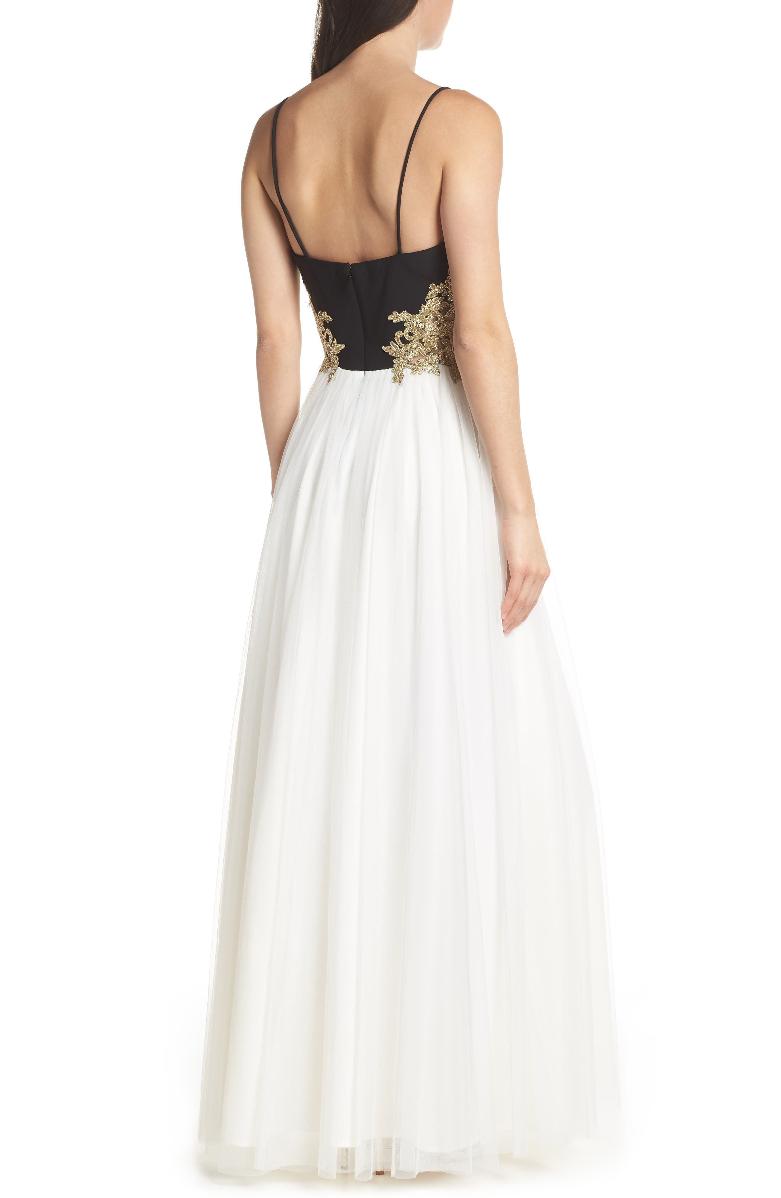 Blondie Nights Embellished Tulle Gown,                             Alternate thumbnail 2, color,                             Black/ Ivory/ Gold