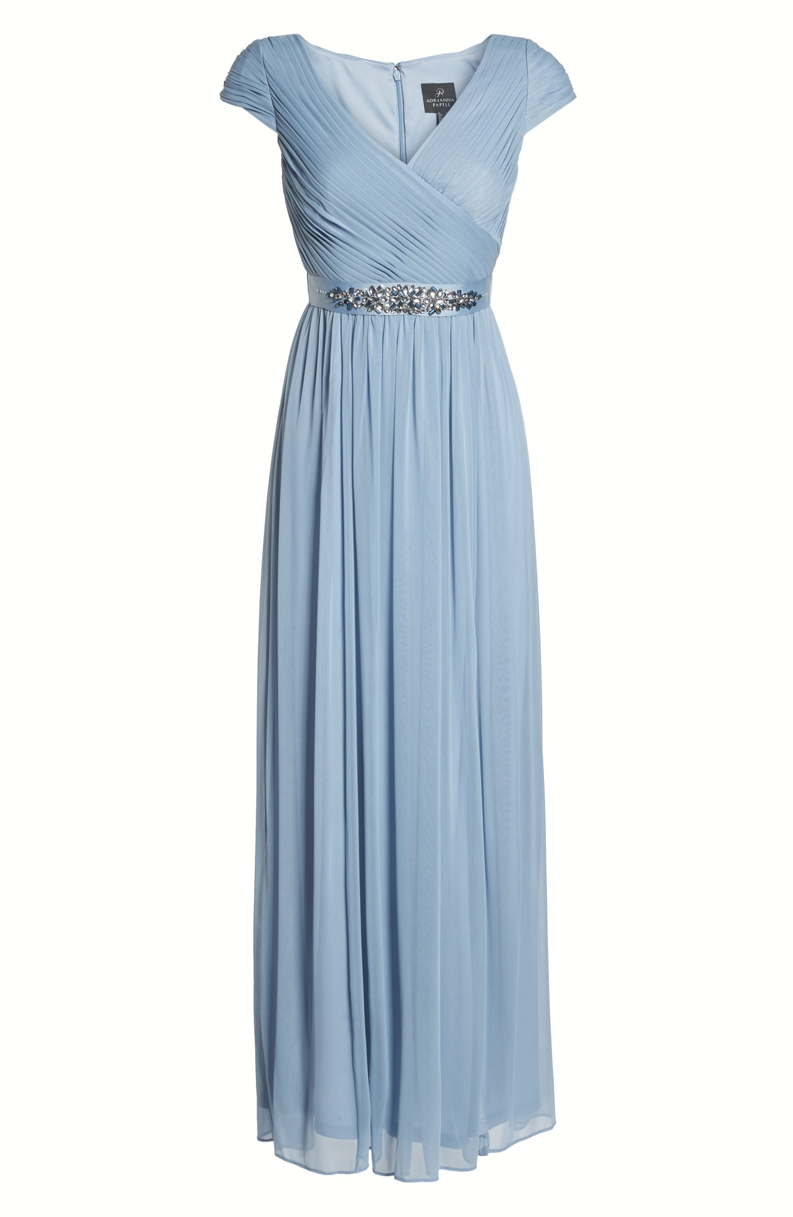 Shirred Chiffon Gown,                             Alternate thumbnail 6, color,                             Dusty Periwinkle