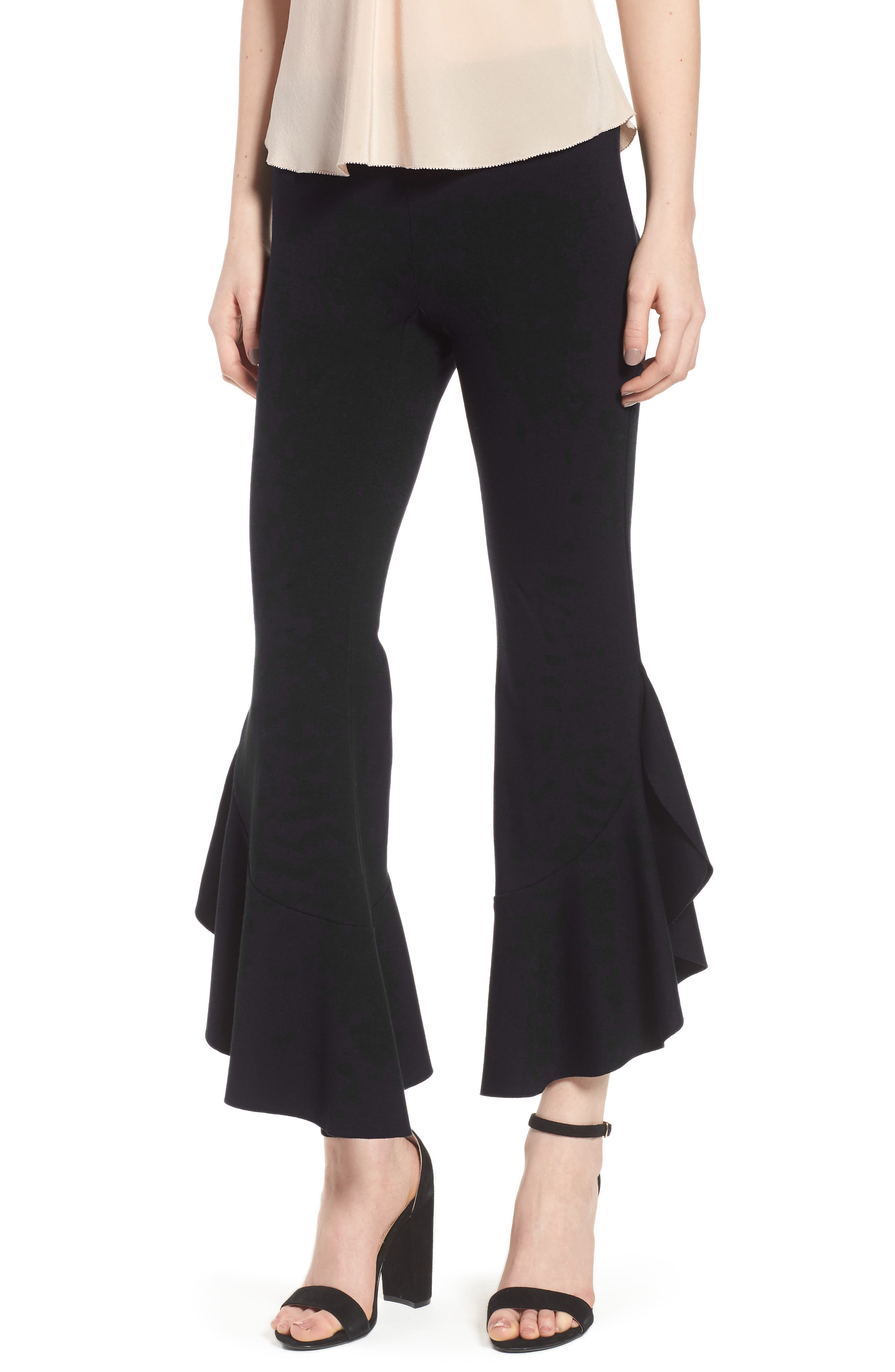 Petunia Ruffle Hem Pants,                         Main,                         color, Black