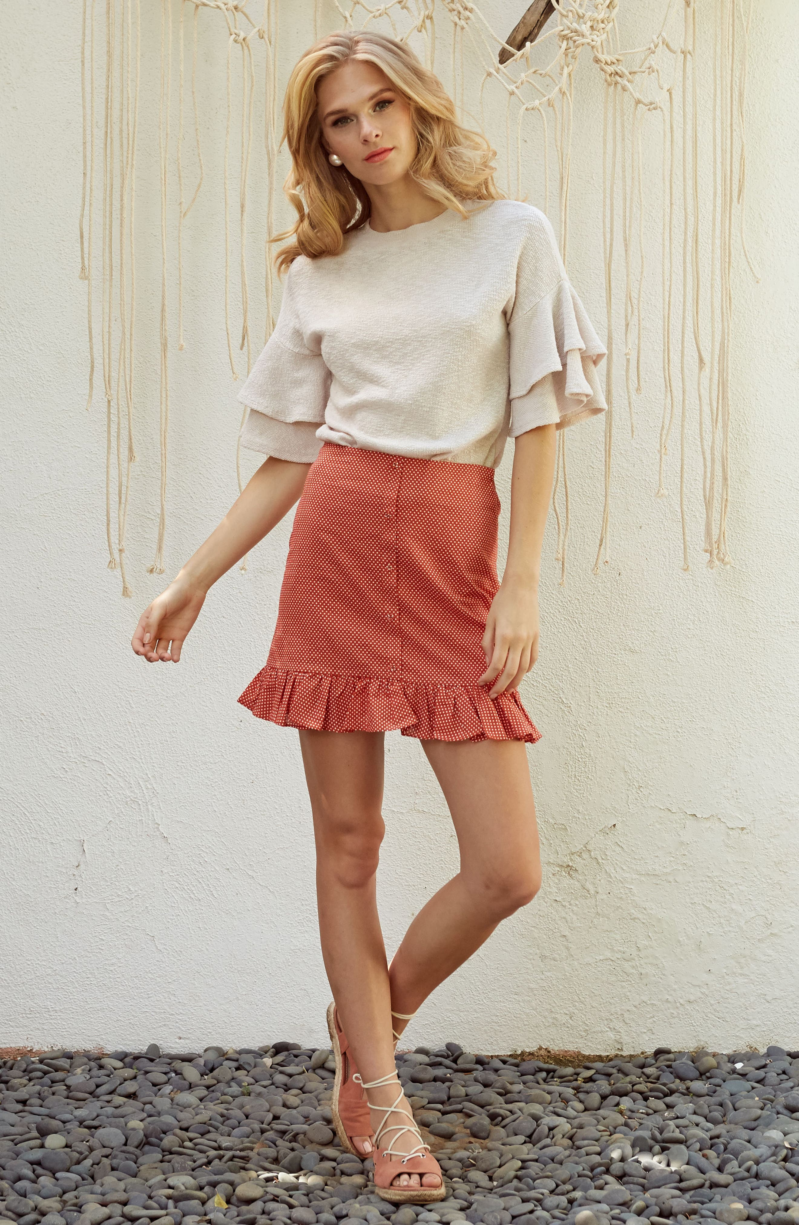 Cherry Blossom Ruffle Sleeve Top,                             Alternate thumbnail 2, color,                             Pale Pink