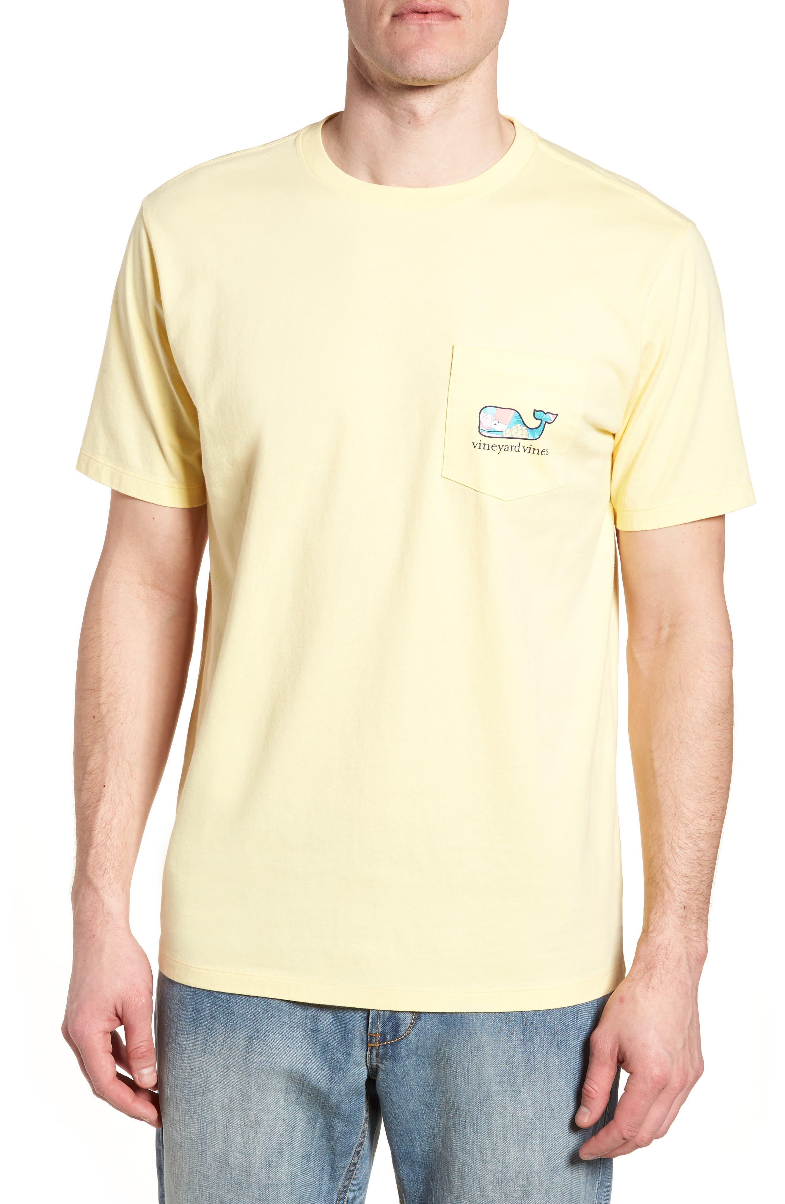 Bahama Mama Whale Pocket T-Shirt,                             Main thumbnail 1, color,                             Lemon Drop