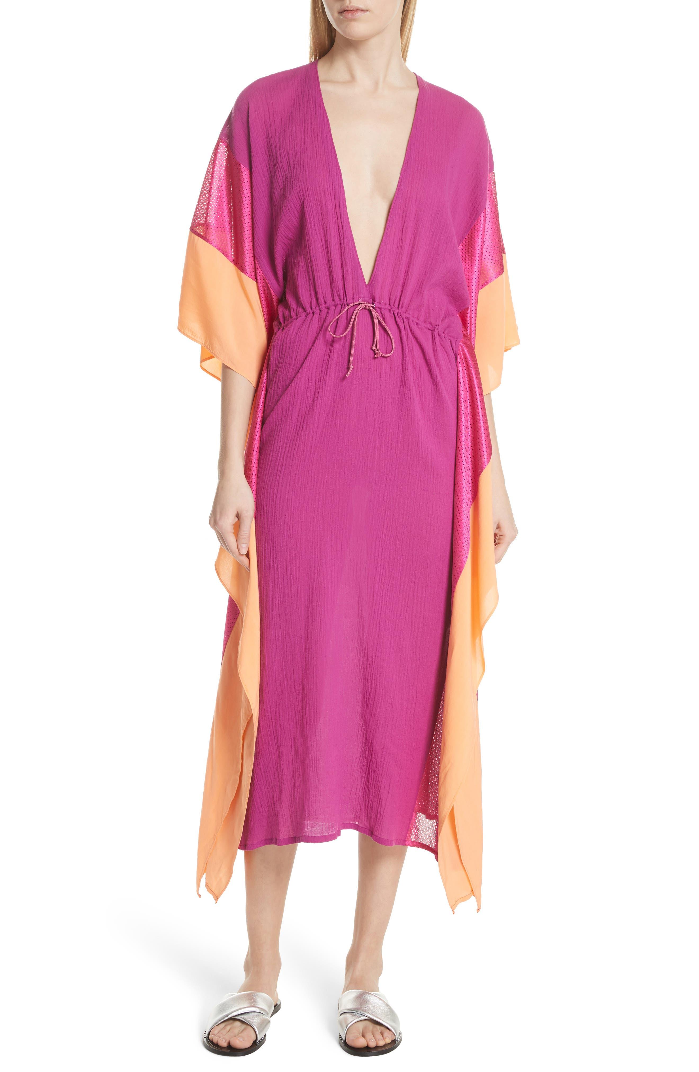 Sun Dance Caftan Dress,                             Main thumbnail 1, color,                             Magenta/ Orange