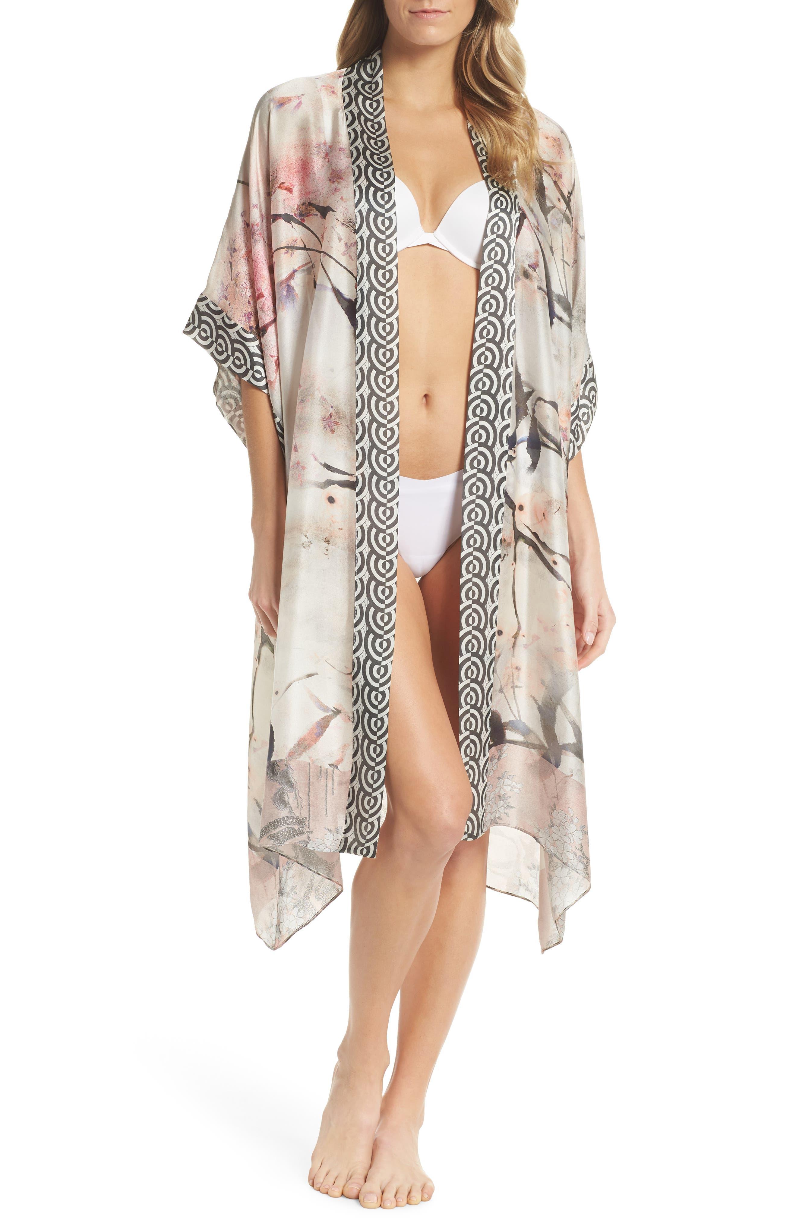 Christine Lingerie Print Silk Kimono Robe
