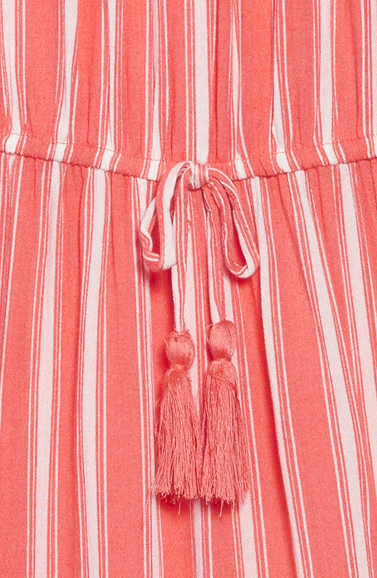 Stripe Romper,                             Alternate thumbnail 2, color,                             Coral/ Ivory