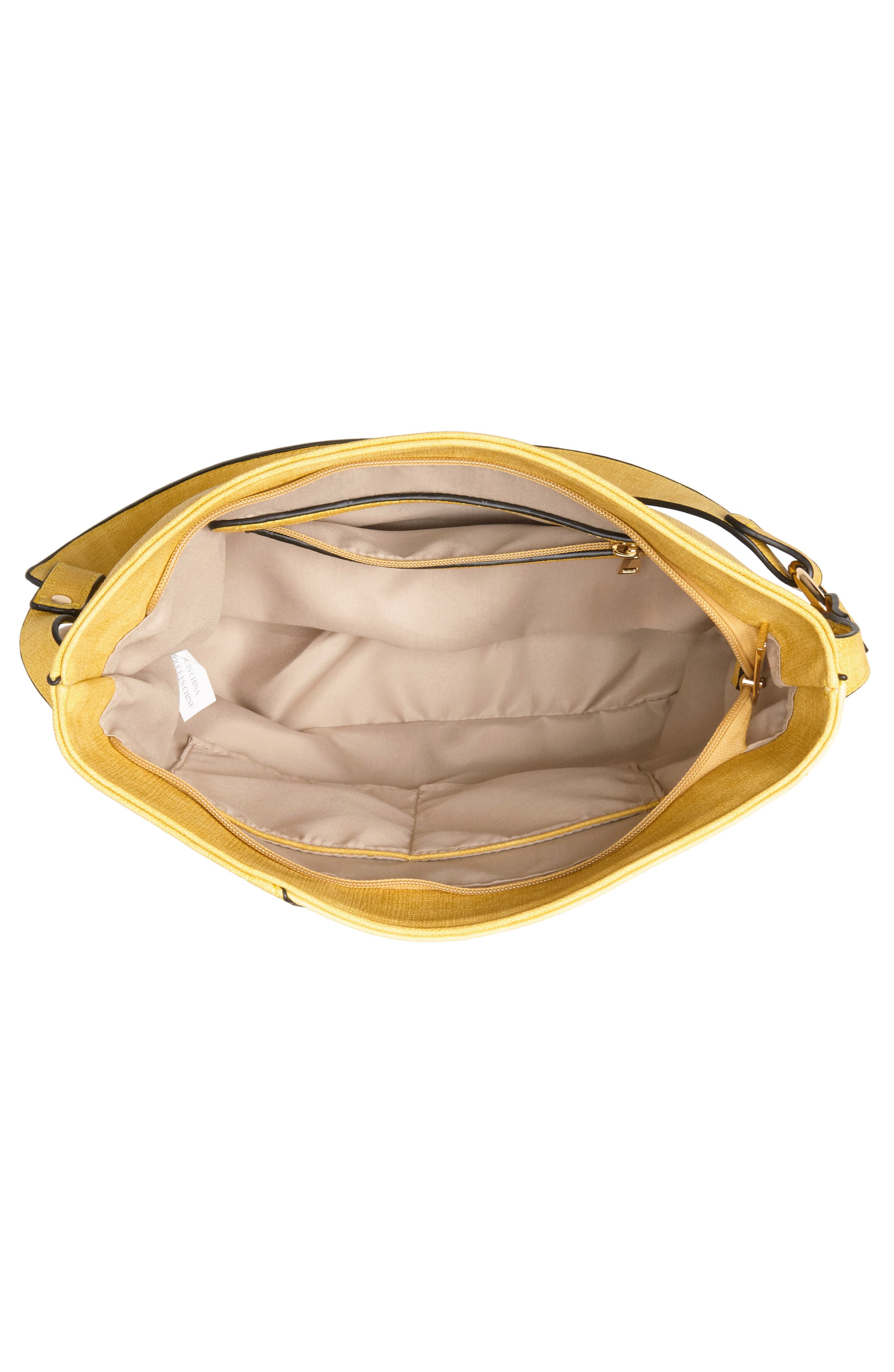 Faux Leather Tote,                             Alternate thumbnail 4, color,                             Yellow