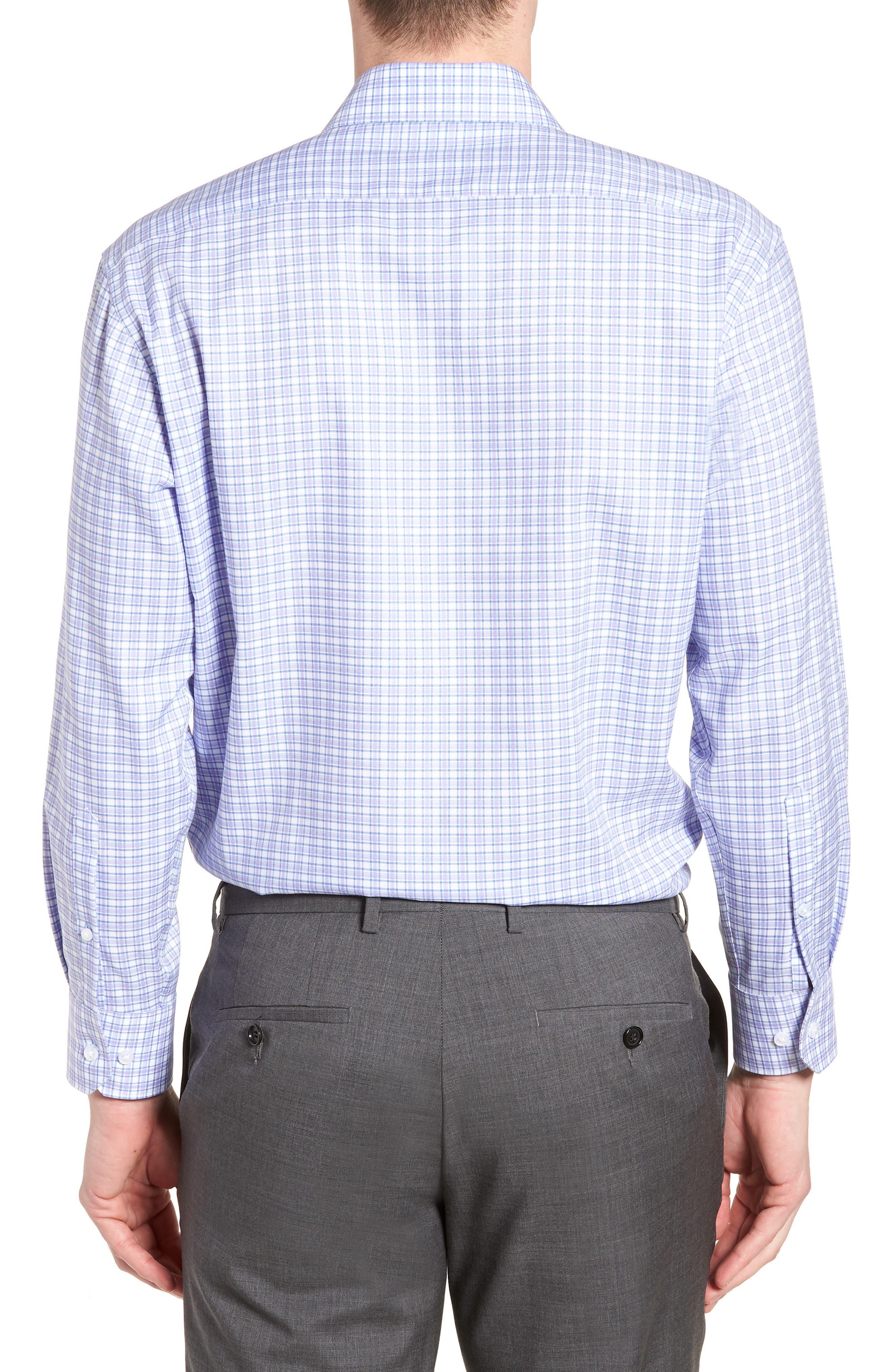 Neil Trim Fit Check Dress Shirt,                             Alternate thumbnail 3, color,                             Lavender