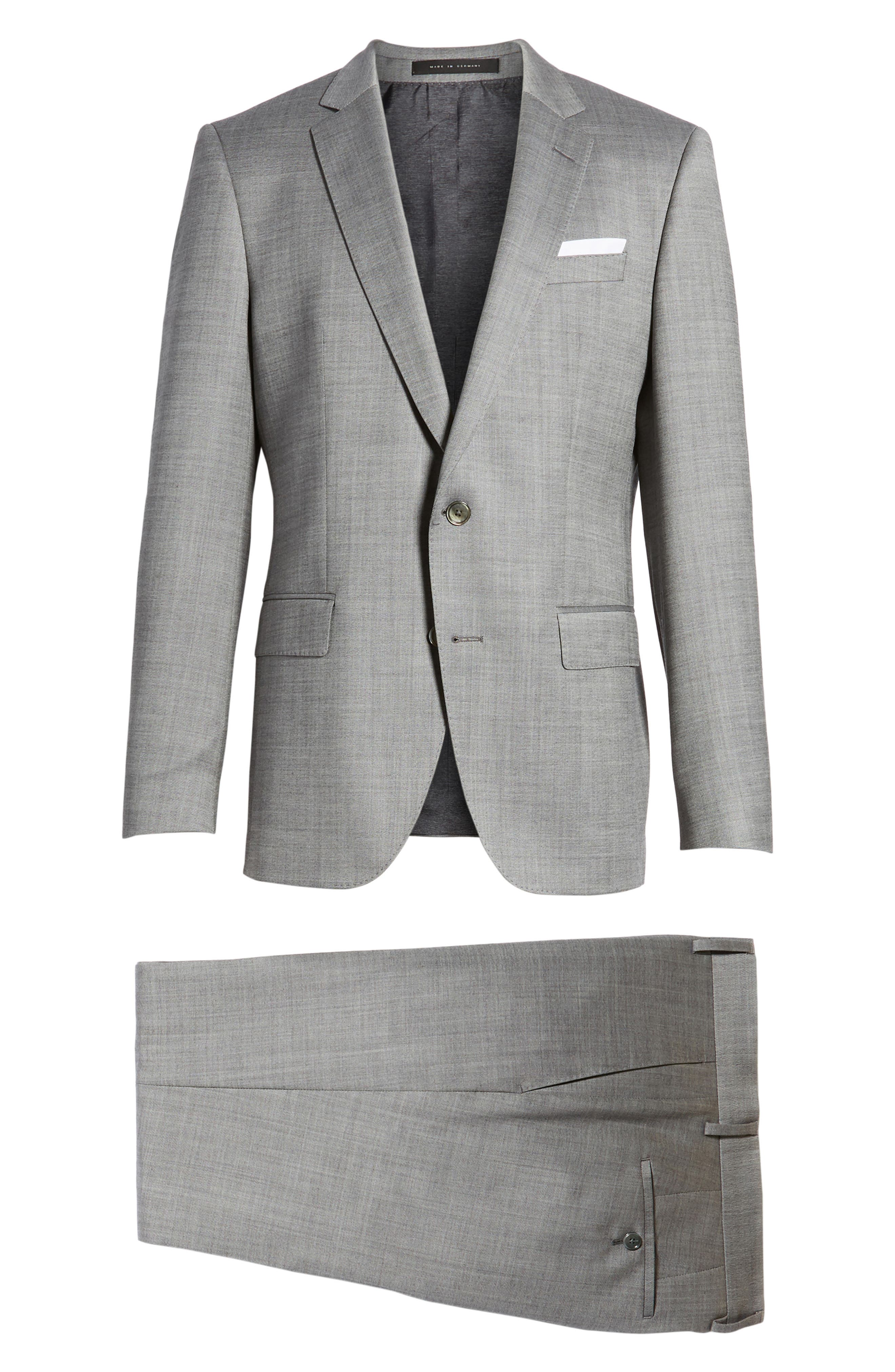 Hutsons/Gander Trim Fit Solid Wool & Silk Suit,                             Alternate thumbnail 8, color,                             Light Grey