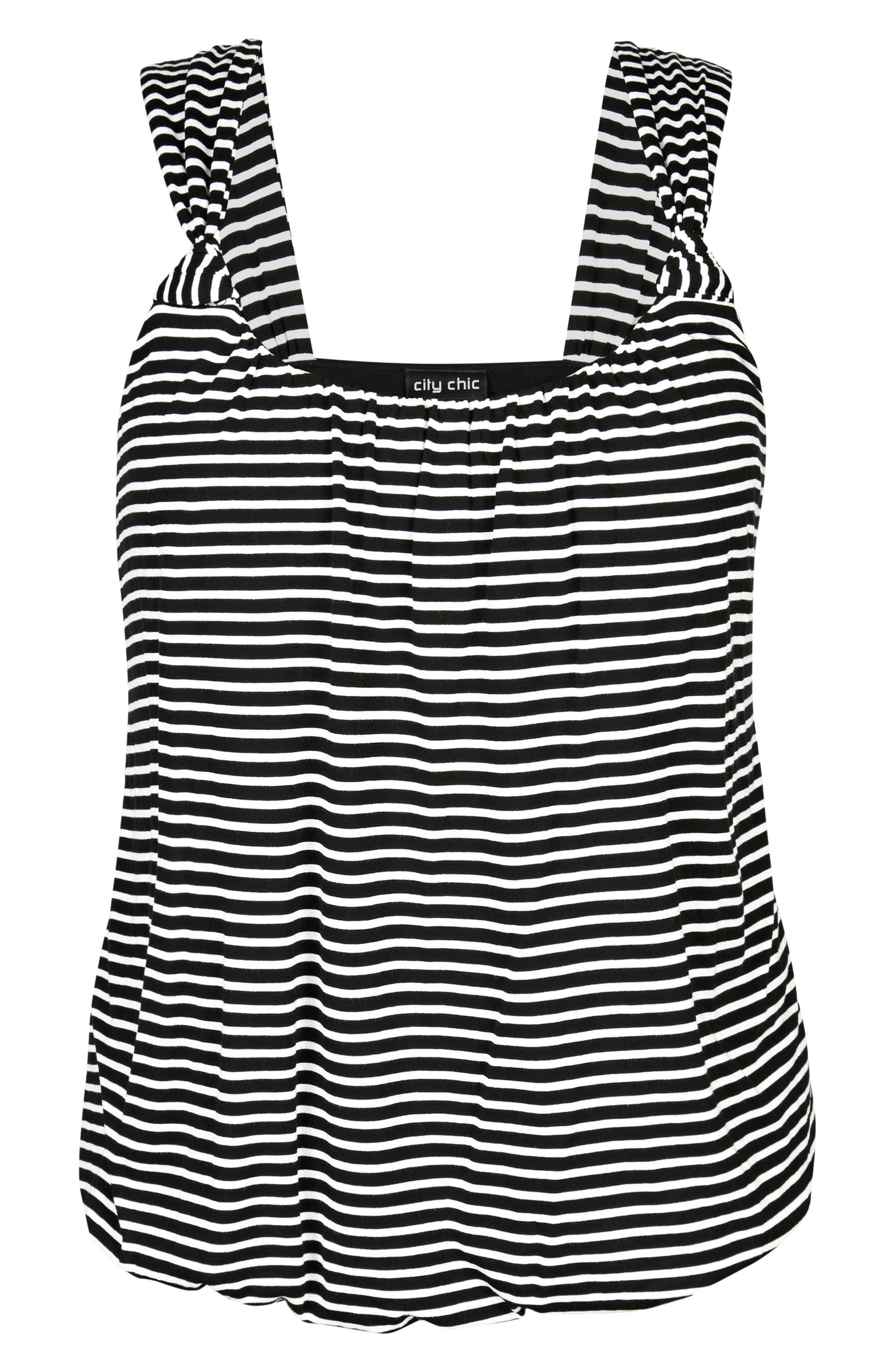 Stripe Bubble Top,                             Alternate thumbnail 3, color,                             White Stripe