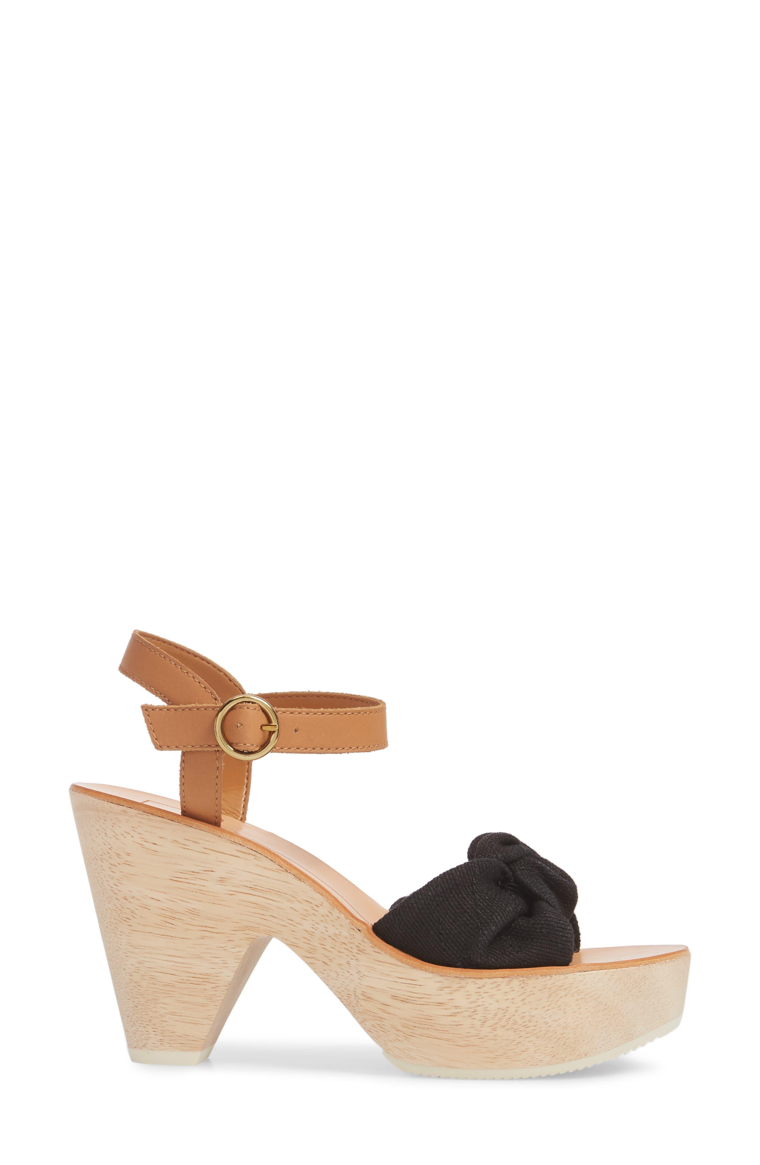 Shia Knotted Platform Sandal,                             Alternate thumbnail 3, color,                             Black Linen
