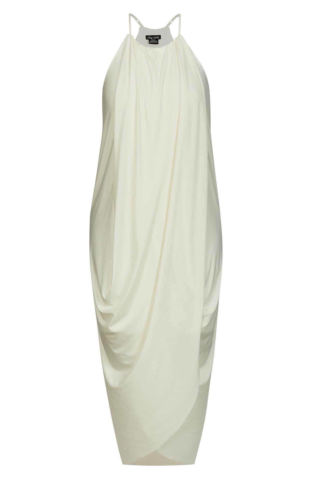 'Slinky Wrap' Maxi Dress,                             Alternate thumbnail 3, color,                             Ivory
