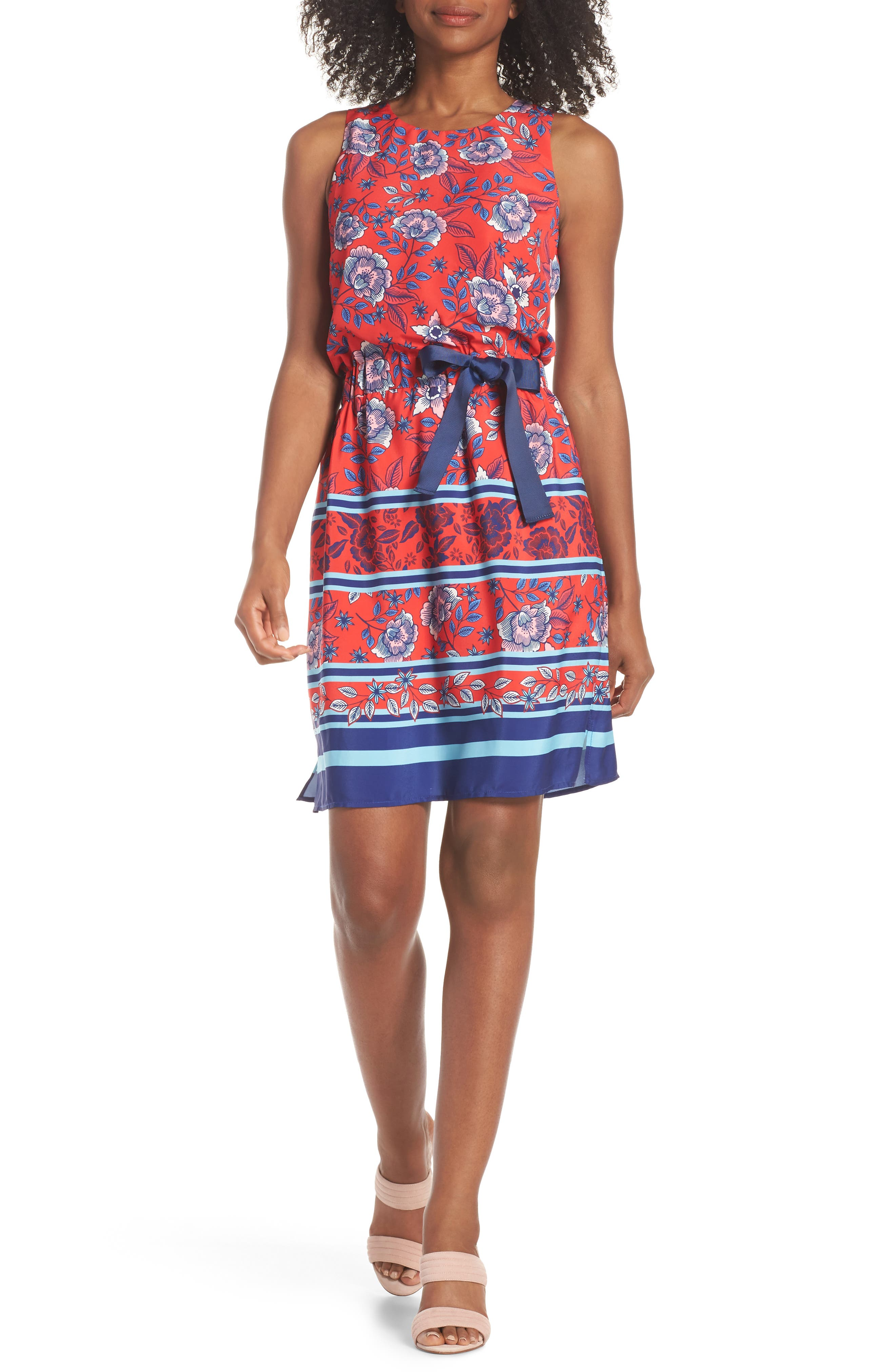 Built-In Tie Fit & Flare Dress,                             Main thumbnail 1, color,                             Red