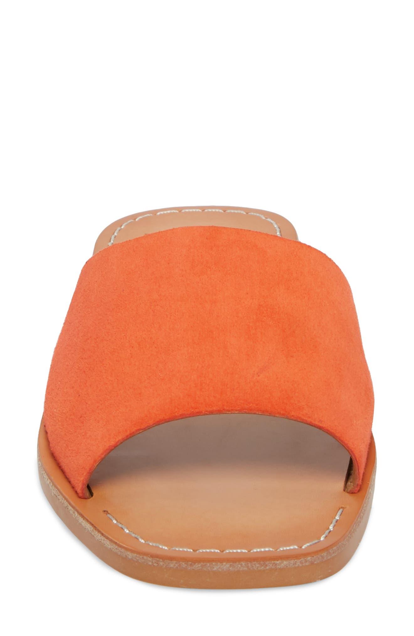 Cato Asymmetrical Slide Sandal,                             Alternate thumbnail 4, color,                             Orange Suede
