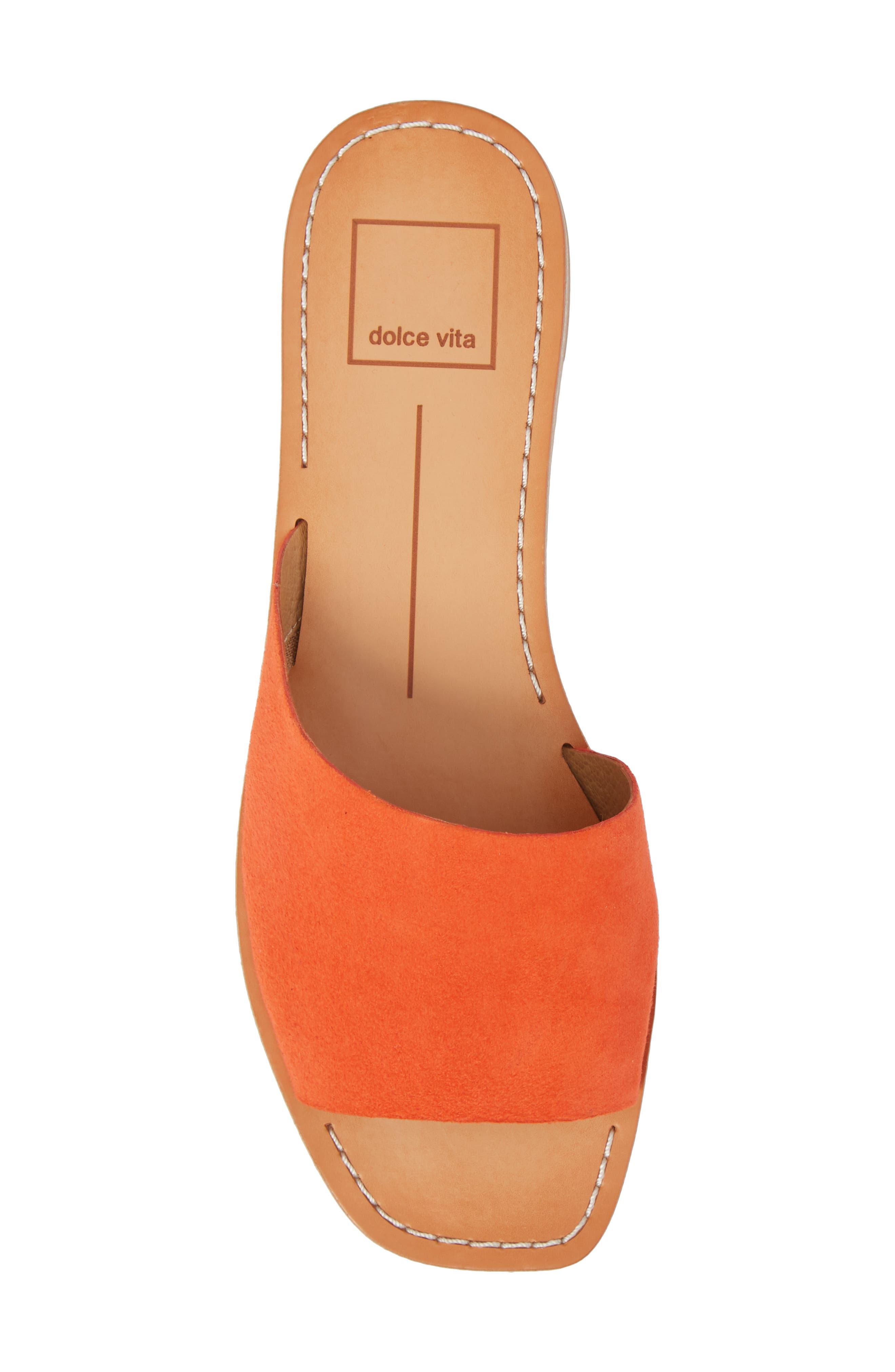 Cato Asymmetrical Slide Sandal,                             Alternate thumbnail 5, color,                             Orange Suede