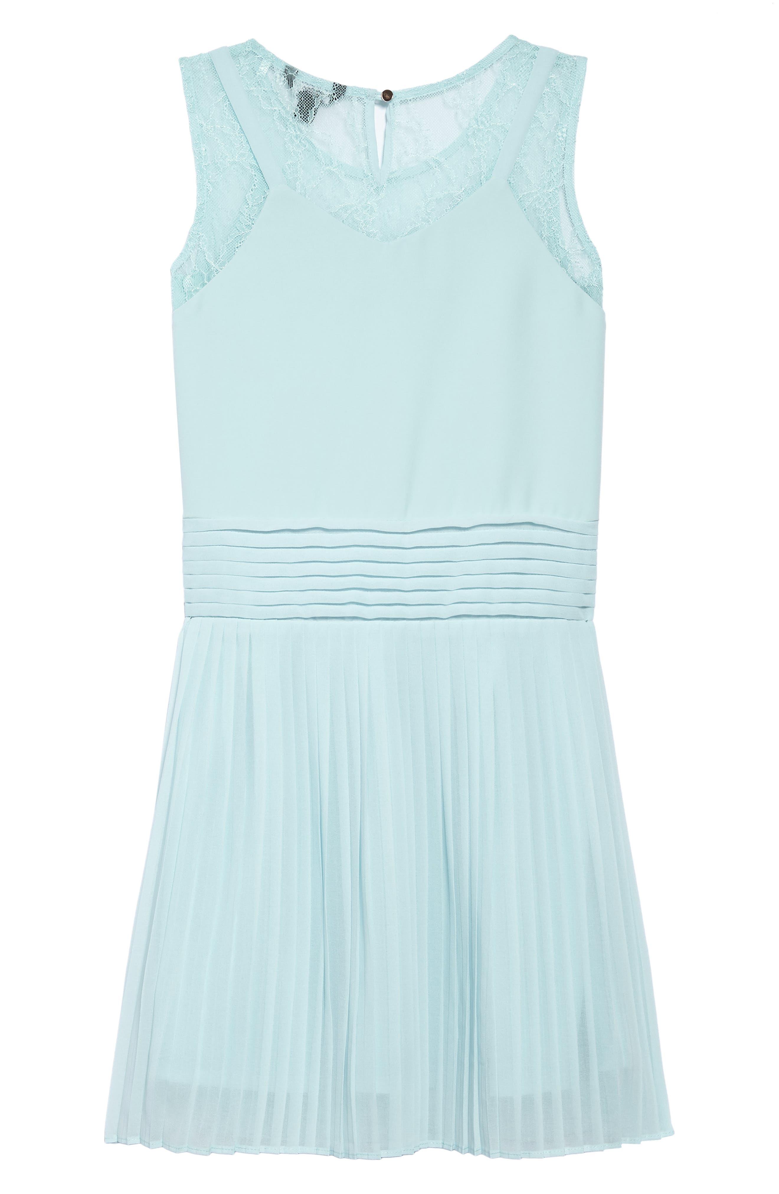 Pleated Chiffon Party Dress,                             Alternate thumbnail 2, color,                             Beau Blue