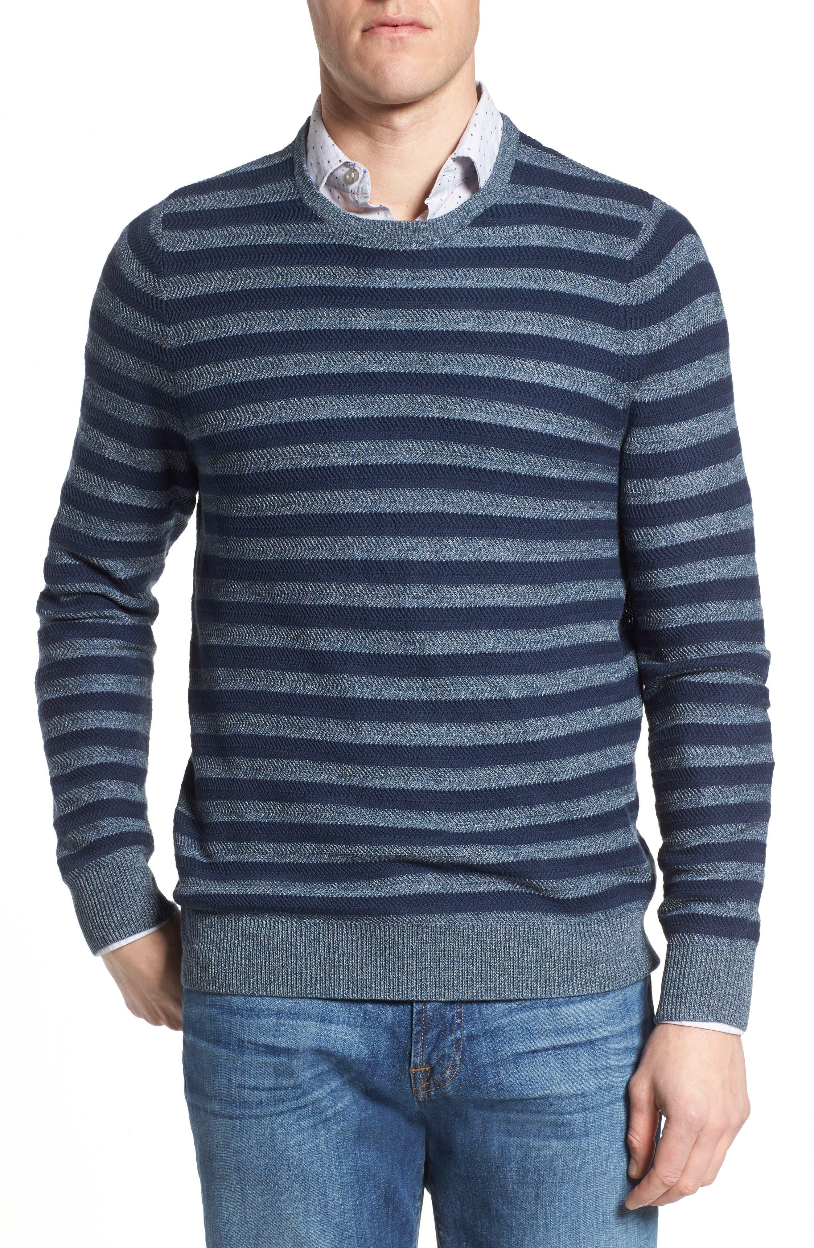 Stripe Cotton Blend Sweater,                             Main thumbnail 1, color,                             Navy Iris Stripe