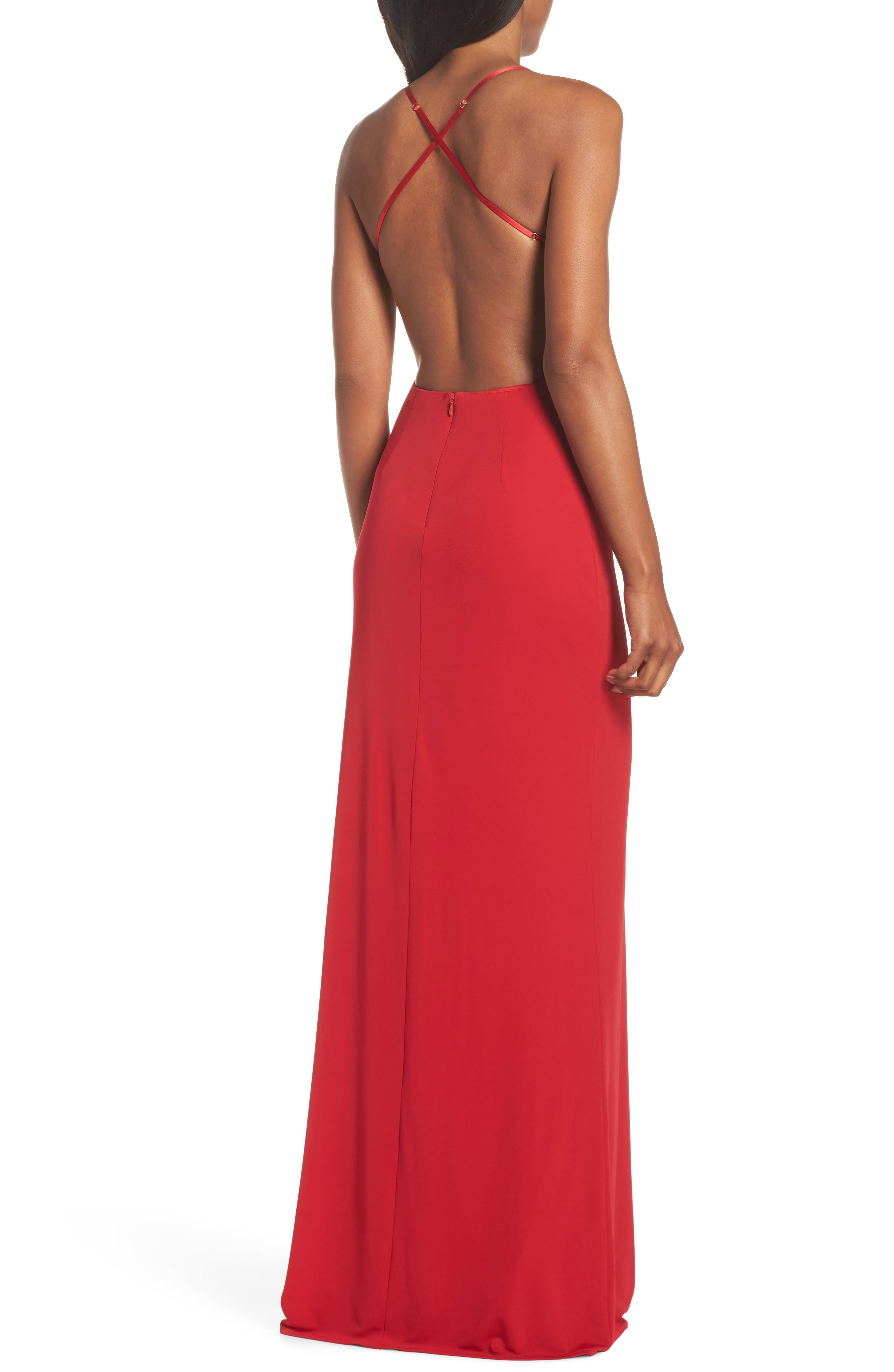 Donna Backless Jersey Dress,                             Alternate thumbnail 2, color,                             Red