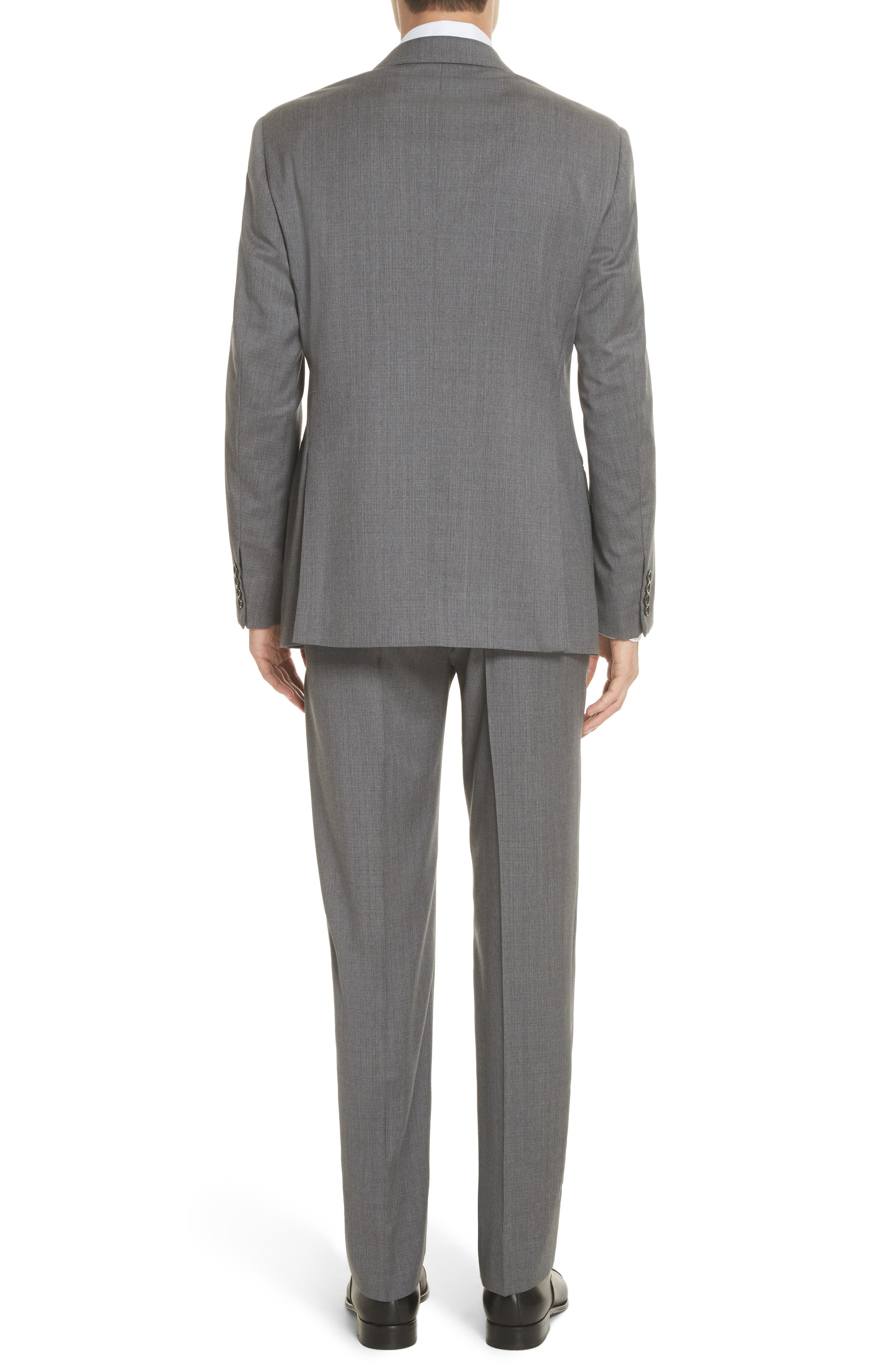 Trim Fit Sharkskin Wool Suit,                             Alternate thumbnail 2, color,                             Grey