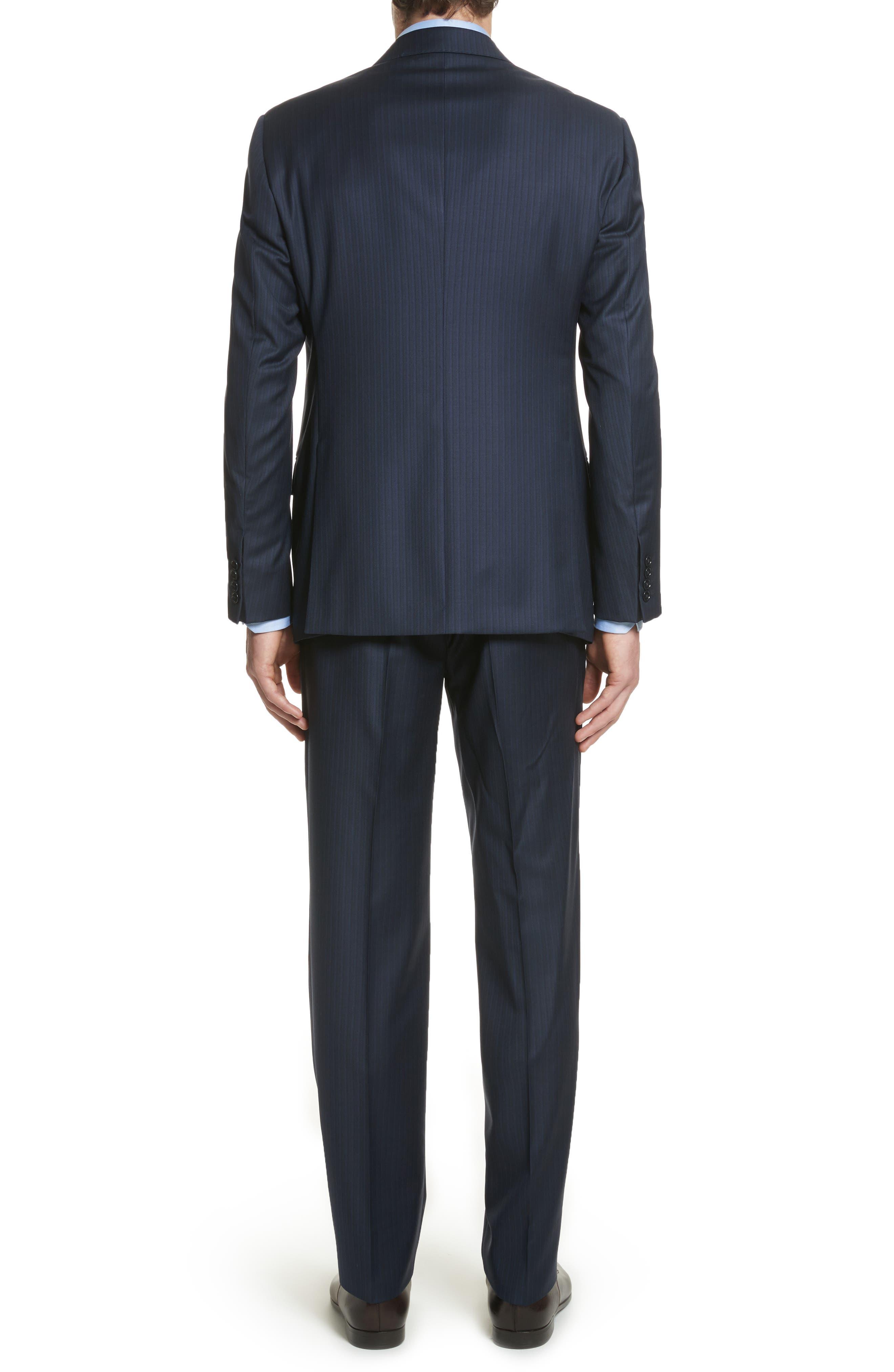 G Line Trim Fit Stripe Wool Suit,                             Alternate thumbnail 2, color,                             Blue