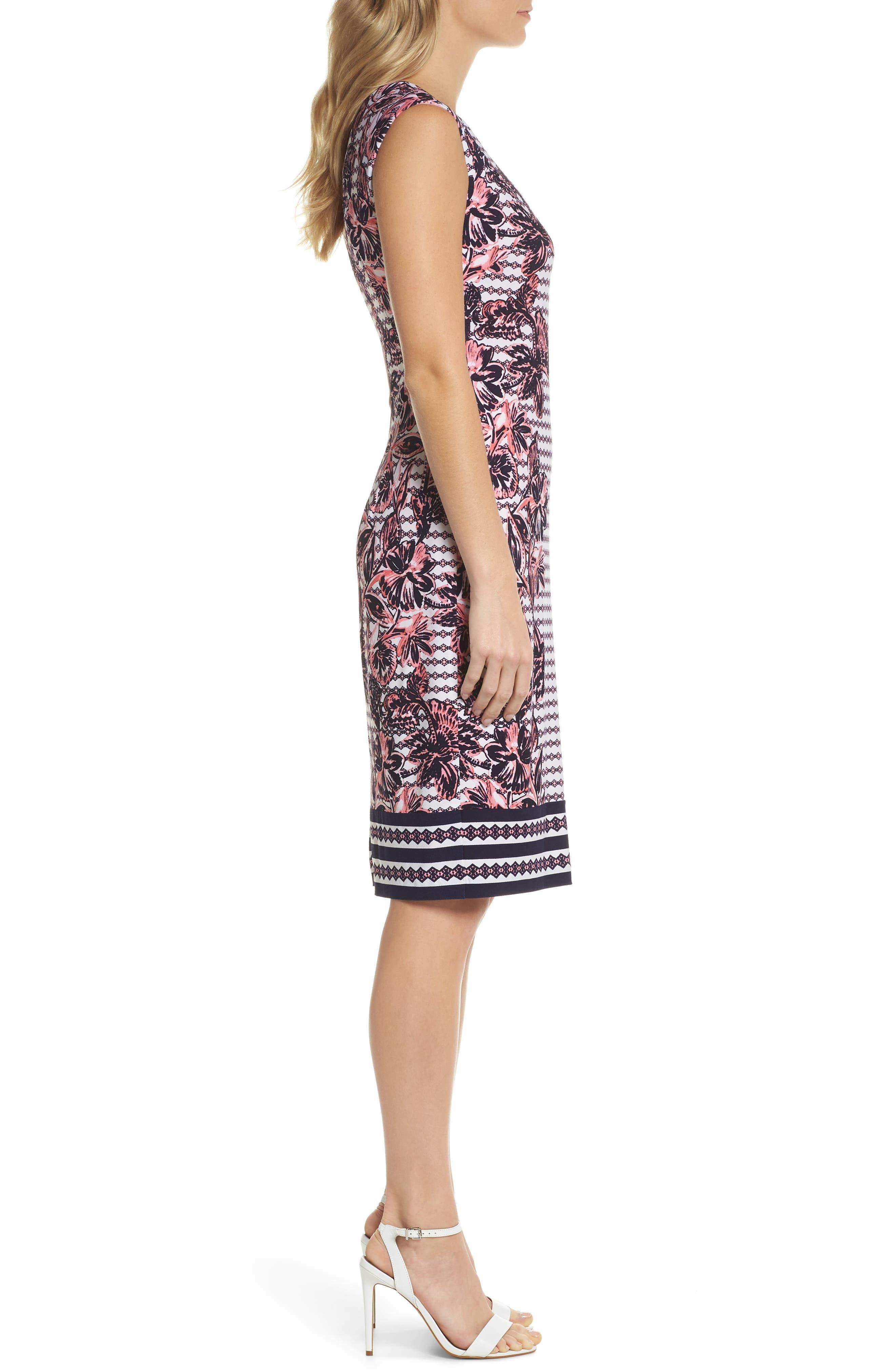 Print Scuba Crepe Sheath Dress,                             Alternate thumbnail 3, color,                             Navy/ Pink